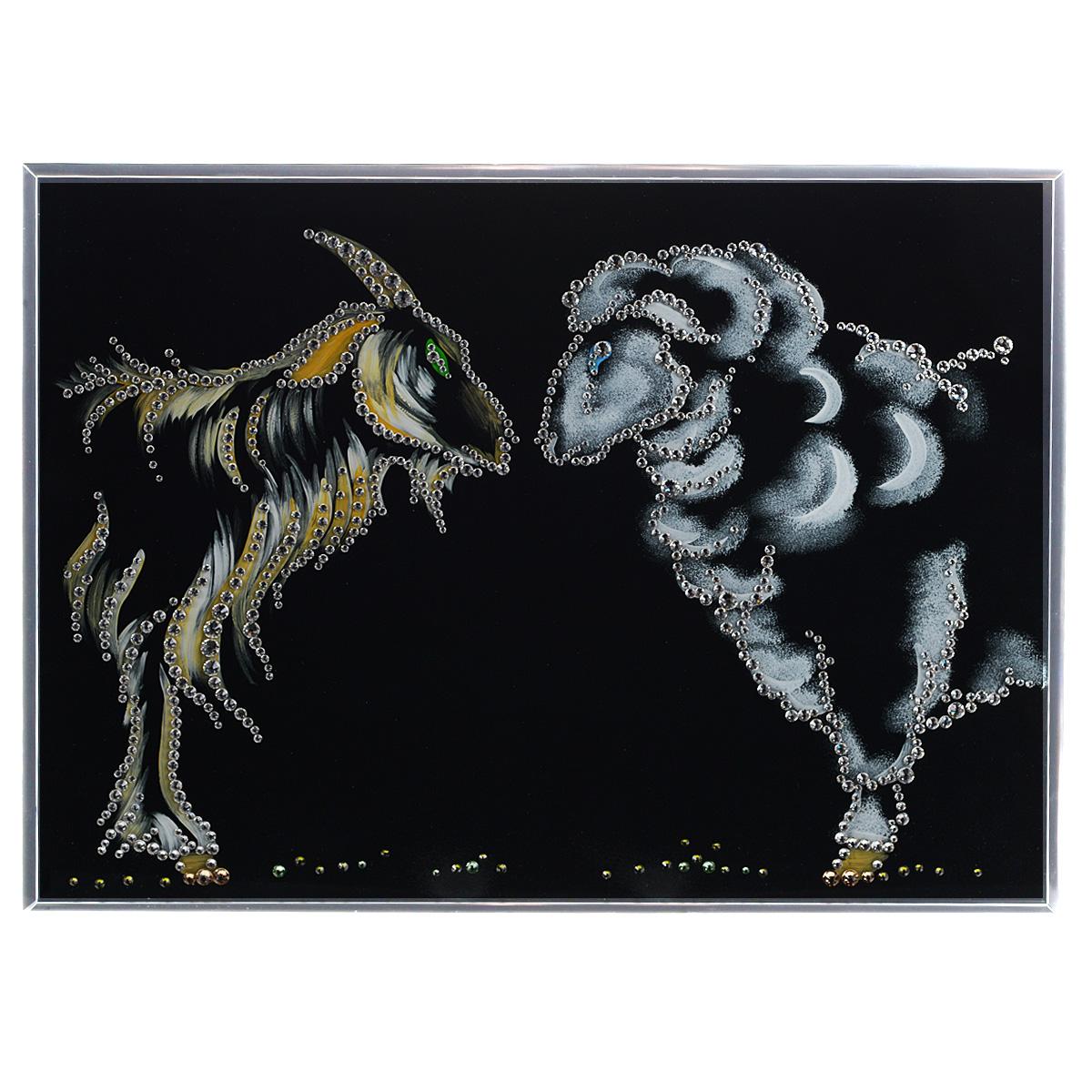 Картина с кристаллами Swarovski Символ 2015, 40 см х 30 см296664Изящная картина в металлической раме, инкрустирована кристаллами Swarovski, которые отличаются четкой и ровной огранкой, ярким блеском и чистотой цвета. Красочное изображение символа 2015 года - овечки и козы, расположенное на внутренней стороне стекла, прекрасно дополняет блеск кристаллов. Под стеклом картина оформлена бархатистой тканью черного цвета. С обратной стороны имеется металлическая петелька для размещения картины на стене.Картина с кристаллами Swarovski Символ 2015 элегантно украсит интерьер дома или офиса, а также станет прекрасным подарком, который обязательно понравится получателю. Блеск кристаллов в интерьере, что может быть сказочнее и удивительнее. Картина упакована в подарочную картонную коробку синего цвета и комплектуется сертификатом соответствия Swarovski.