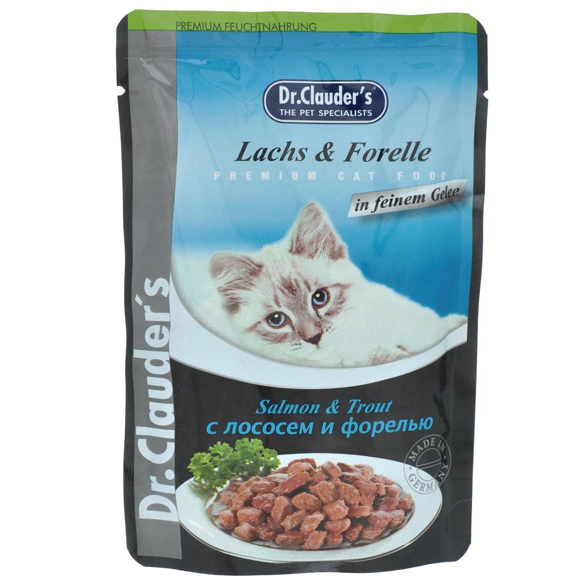 Консервы Dr. Clauders, для взрослых кошек, мясные кусочки в желе с лососем и форелью, 100 г24Консервы Dr. Clauders - полноценное сбалансированное питание для взрослых кошек. Корм обладает высокой вкусовой привлекательностью и способен удовлетворить потребности любой кошки.Состав: мясо и мясные продукты, рыба и рыбные продукты (минимум 5% лосося, 5% форели), злаки, минералы, инулин (0,1%). Добавки (в 1 кг): витамин D3 - 250 МЕ, витамин Е (альфа-токоферол) - 15 мг, медь - 1,0 мг, марганец - 1,0 мг, биотин - 20 мг, цинк - 15 мг.Содержание питательных веществ: протеин - 7,5%, жиры - 4,5%, зола - 2,5%, клетчатка пищевая - 0,3%, влажность - 82%.Товар сертифицирован.