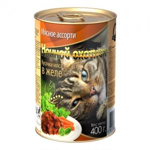Консервы для взрослых кошек Ночной охотник , с мясным ассорти в желе, 400 г0120710Консервы для взрослых кошек Ночной охотник  с мясным ассорти в желе - полноценное сбалансированное питание для взрослых кошек. Корм изготовлен из натурального мяса, без содержания сои, консервантов и ГМО продуктов. В состав корма входят питательные вещества, белки, минеральные вещества, витамины, таурин и другие компоненты, необходимые кошке для ежедневного питания. Состав: мясо и субпродукты животного происхождения (говядина не менее 10%, телятина не менее 10%, ягненок не менее 10%, курица не менее 10%) растительное масло, злаки, минеральные вещества, таурин, витамины А, D, E.Пищевая ценность в 100 г: сырой белок - 8%, сырой жир - 3,5%, сырая клетчатка - 0,4%, кальций - 0,25%, фосфор - 0,3%, сырая зола - 2%, влажность 80%.Вес: 400 г .Энергетическая ценность: 83 ккал/100 г.Товар сертифицирован.