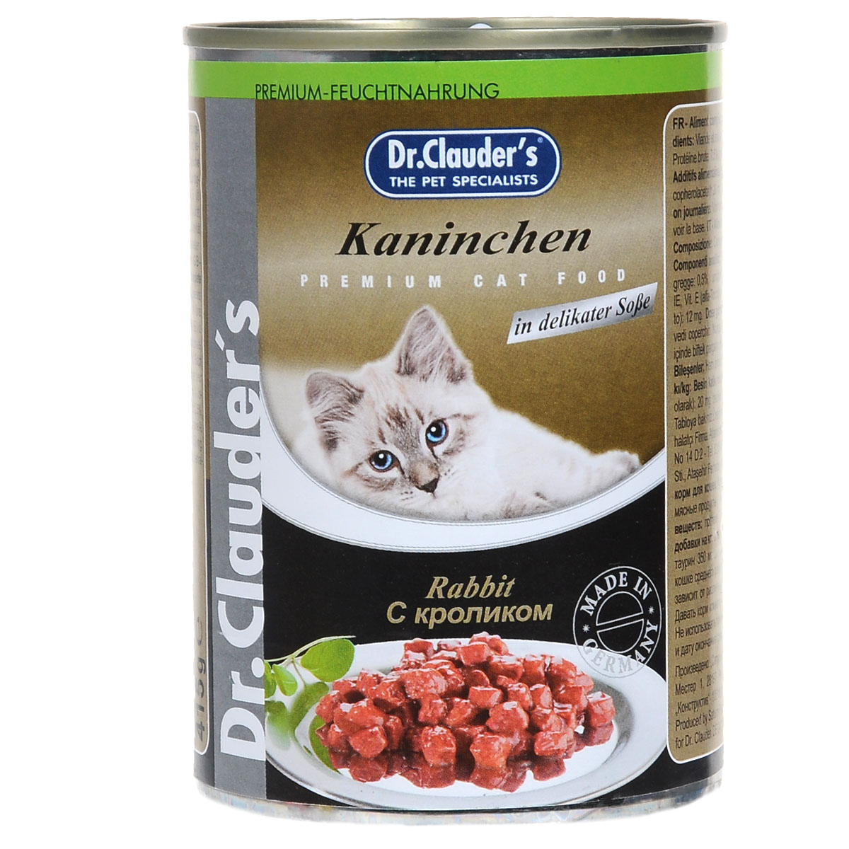 Консервы для кошек Dr. Clauders, кролик, 415 г24Полнорационное питание домашних питомцев - основная головная боль их владельцев. Каждый владелец кошки старается подобрать для своей питомицы сбалансированный и подходящий именно ей рацион. Одни меняют корма несколько раз. Консервы для кошек Dr. Clauders обладают отличными вкусовыми качествами. В этом корме есть все, в чем ваша любимица нуждается каждый день - витамины, макро- и микроэлементы, биологически активные вещества. Прекрасный аппетит во время еды и сытое урчание после гарантировано. Шелковистая блестящая шерсть, хорошее настроение, физическая активность и отменное здоровье - таким будет результат вашей заботы и правильно отношения к питанию кошки. Состав: мясо и мясные продукты (мин. 4% кролика), злаки, минералы, сахар. Питательные вещества: протеин 7,5%, жир 4,5%, зола 2,5%, клетчатка 0,5%, влажность 81%.Пищевые добавки: витамин А 2000МЕ, витамин D3 200МЕ, витамин Е 20 мг, таурин 350 мг, цинк 12 мг.Товар сертифицирован.