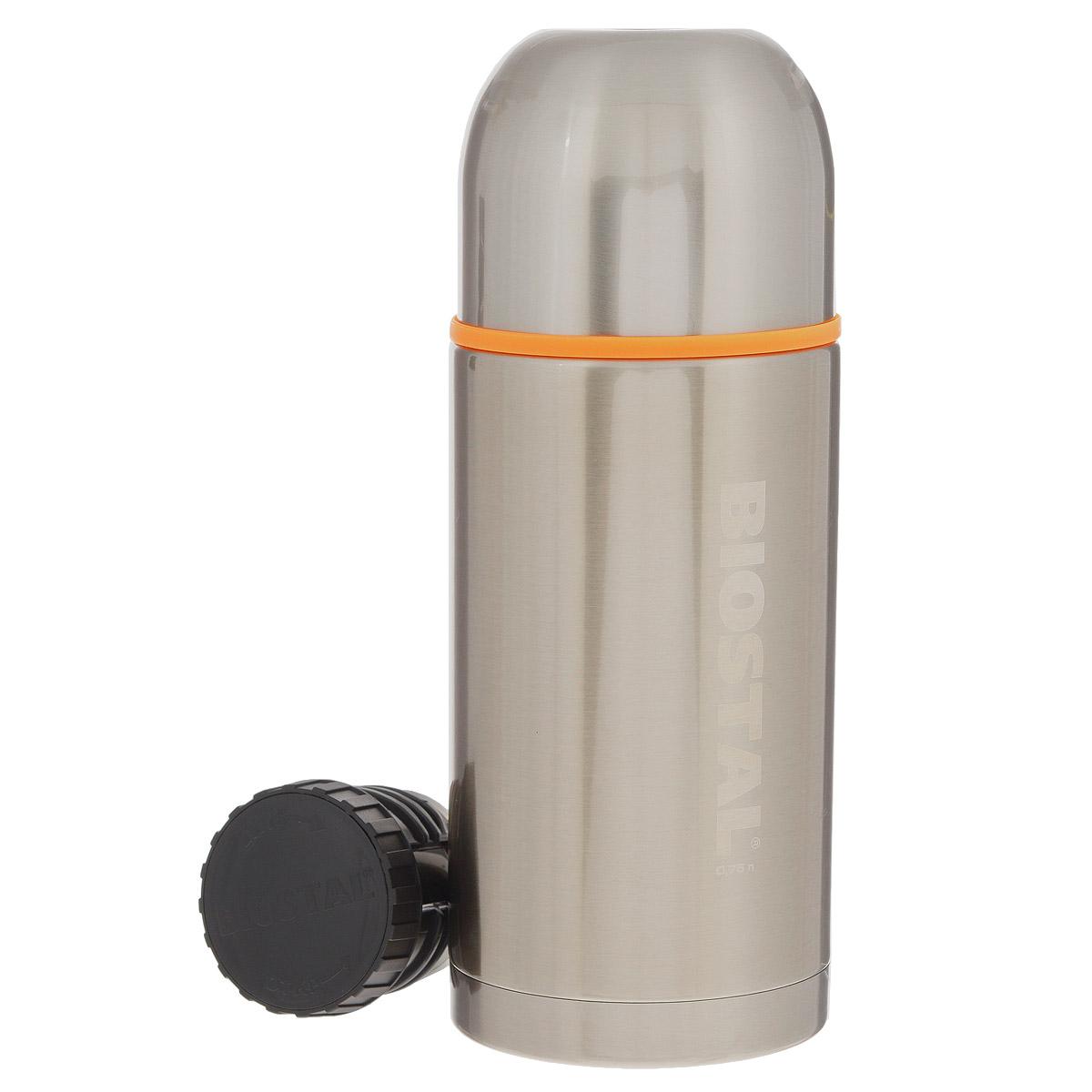 Термос BIOSTAL Спорт, 750 мл. NBP-750VT-1520(SR)Термос с узким горлом BIOSTAL Спорт, изготовленный из высококачественной нержавеющей стали, относится к серии Спорт премиум-класса. Термосы этой серии вобрали в себя самые передовые энергосберегающие технологии и отличаются применением более совершенных термоизоляционных материалов, а также новейшей технологией по откачке вакуума. Корпус покрыт защитным прозрачным лаком. Термос предназначен для хранения горячих и холодных напитков (чая, кофе) и укомплектован двумя пробками: пробка без кнопки надежна, проста в использовании и позволяет дольше сохранять тепло благодаря дополнительной теплоизоляции, пробка с кнопкой удобна в использовании и позволяет, не отвинчивая ее, наливать напитки после простого нажатия. Изделие также оснащено крышкой-чашкой и дополнительной пластиковой чашкой. Легкий и прочный термос BIOSTAL Спорт сохранит ваши напитки горячими или холодными надолго.