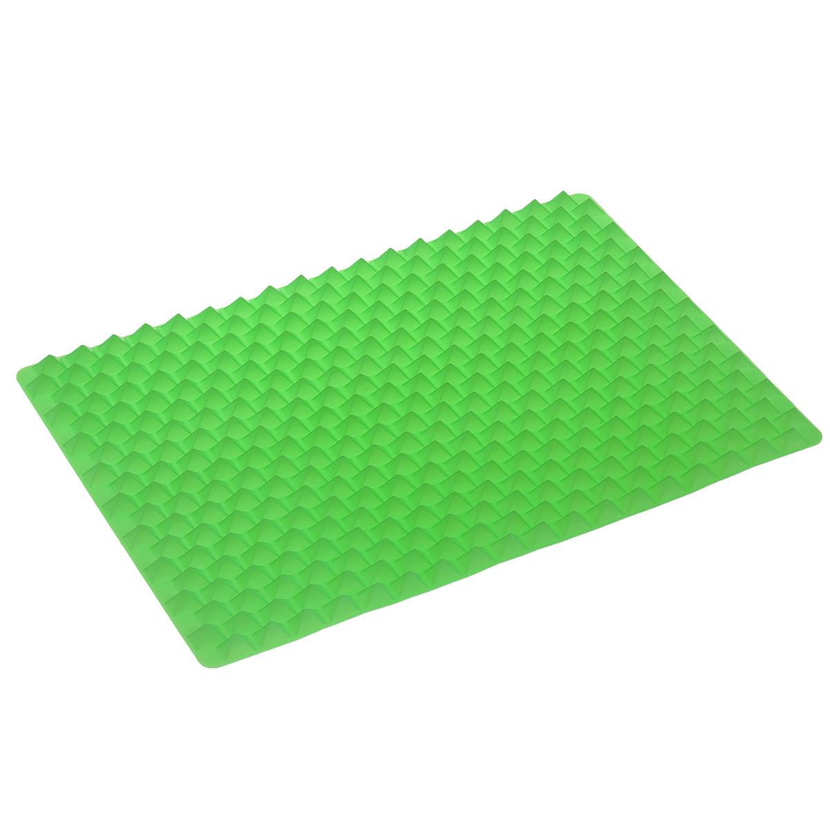 Силиконовый коврик для приготовления пищи Bradex, цвет: зеленый, 40 см х 27 см115610Силиконовый коврик для приготовления пищи Bradex - это новейшая разработка в области кулинарии, которая значительно облегчает ежедневный процесс приготовления пищи, одновременно делая еду более здоровой. Коврик изготовлен из качественного 100% пищевого силикона, который не допускает пригорание пищи и легко моется; выдерживает температуру до +220°С. Уникальная конструкция силиконового коврика позволяет воздуху циркулировать под и вокруг пищи; продукты не входят в контакт с основание коврика, из них выходит избыточный жир, а блюдо приобретает хрустящую корочку и получается необычайно вкусным даже без жарки. Более того, использование силиконового коврика избавляет вас от необходимости постоянно переворачивать приготавливаемую пищу. Наслаждайтесь равномерно приготовленными продуктами с хрустящей корочкой, вне зависимости от того в панировке они или без нее, абсолютно без добавления масла и жира. Коврик идеально подходит для приготовления куриных грудок, рыбных палочек, свиных отбивных, разнообразных овощей, куриных крылышек, картофельных чипсов, картофеля фри, картофеля по-деревенски, телячьих котлет, рыбного филе, луковых колец, крабовых пирогов, фаршированных грибов, овощей, моллюсков и многого другого. Способ применения: поместите силиконовый коврик в форму для выпечки, положите сверху продукты и запекайте согласно рецепту. Можно мыть в посудомоечной машине.