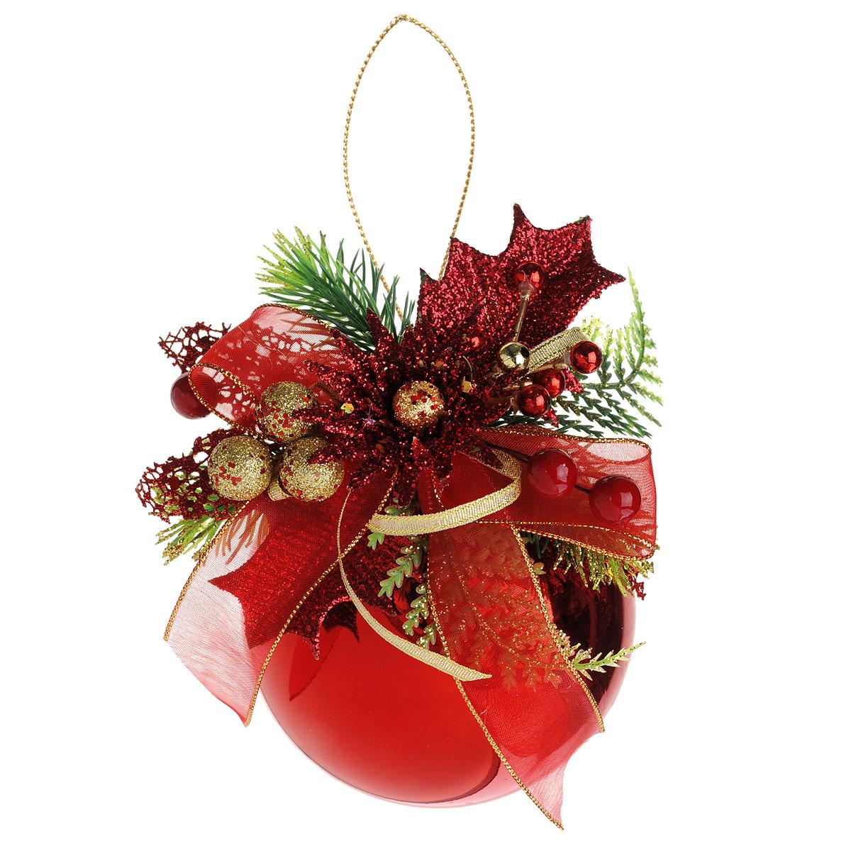 Новогоднее подвесное украшение Sima-land Шар, цвет: красный, диаметр 10 см. 705357C0038550Новогоднее подвесное украшение Sima-land Шар прекрасно подойдет для праздничного декора новогодней ели. Шар выполнен из пластика с глянцевой поверхностью и украшен композицией из пластиковых веточек, листочков и шариков, декорированных глиттером. Для удобного размещения на елке для шара предусмотрена текстильная веревочка.Елочная игрушка - символ Нового года. Она несет в себе волшебство и красоту праздника. Создайте в своем доме атмосферу веселья и радости, украшая новогоднюю елку нарядными игрушками, которые будут из года в год накапливать теплоту воспоминаний. Коллекция декоративных украшений принесет в ваш дом ни с чем не сравнимое ощущение волшебства! Откройте для себя удивительный мир сказок и грез. Почувствуйте волшебные минуты ожидания праздника, создайте новогоднее настроение вашим дорогим и близким.
