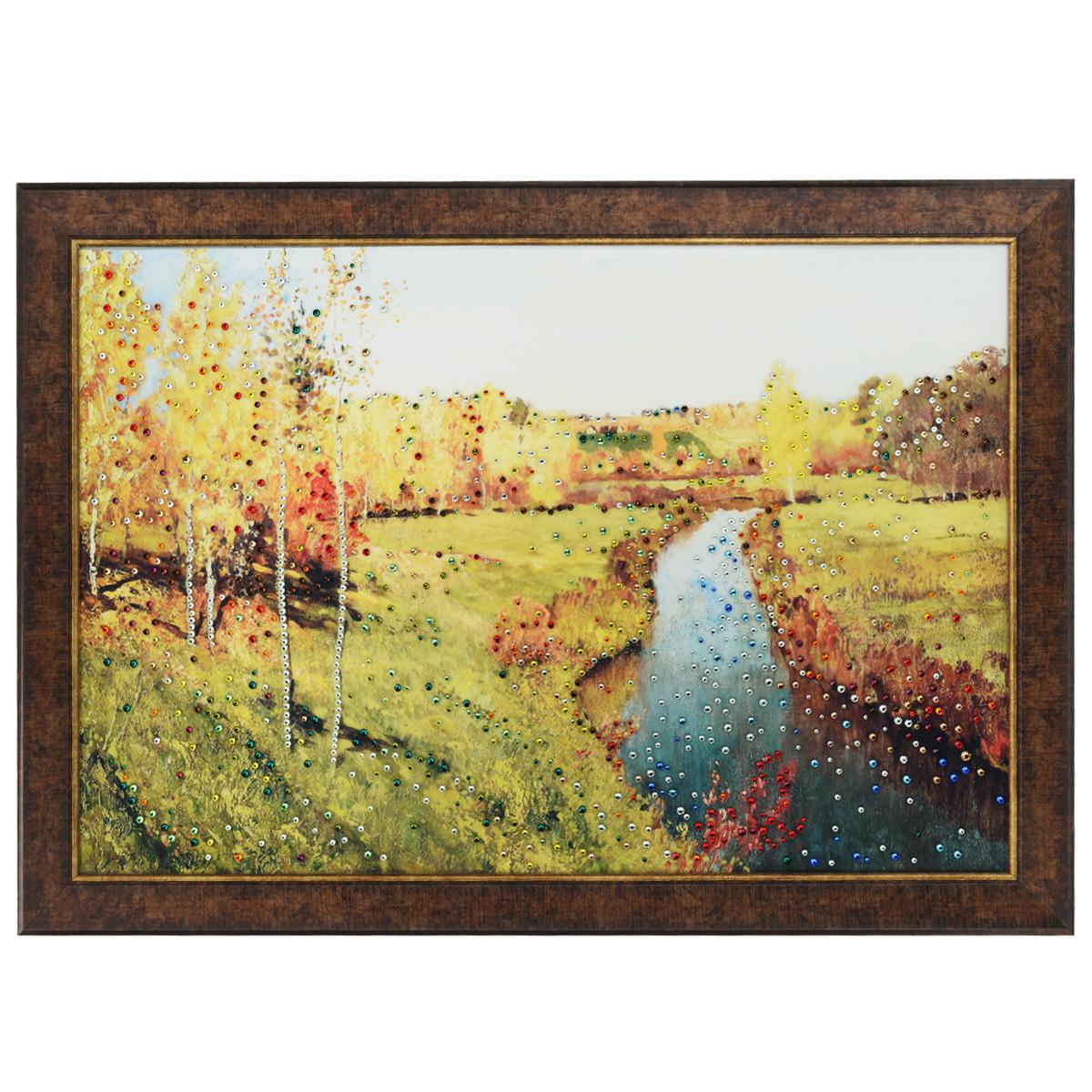 Картина с кристаллами Swarovski Золотая осень, 70 х 50 см картины в квартиру картина etude 2 102х130 см