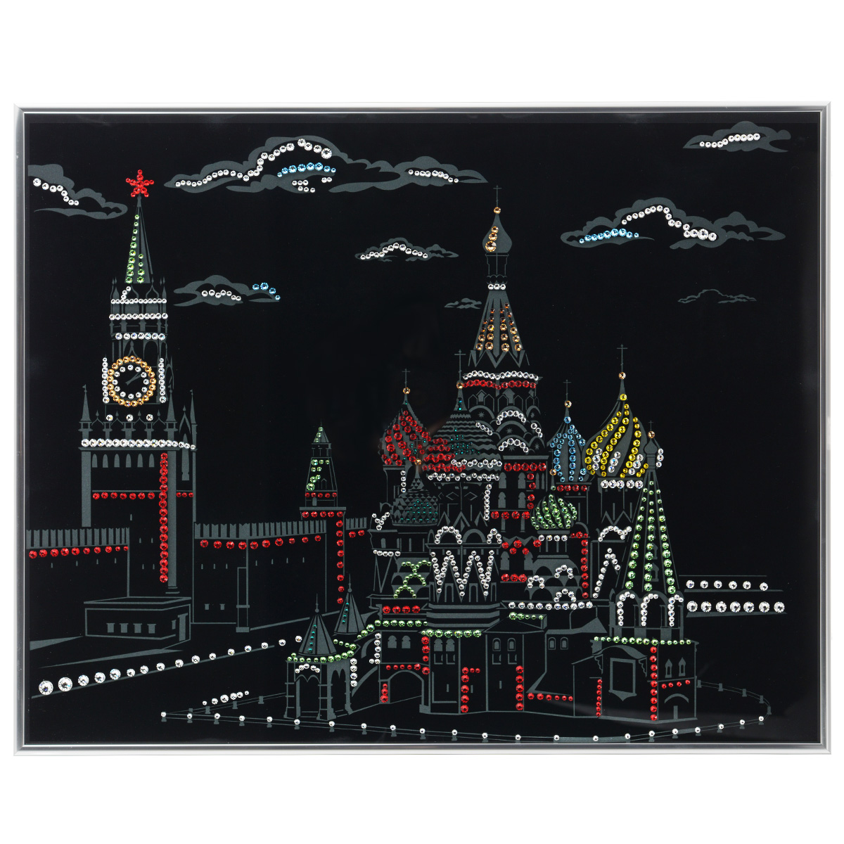Картина с кристаллами Swarovski Кремль, 50 см х 40 смIDEA CT3-07Изящная картина в металлической раме, инкрустирована кристаллами Swarovski, которые отличаются четкой и ровной огранкой, ярким блеском и чистотой цвета. Красочное изображение Кремля, расположенное на внутренней стороне стекла, прекрасно дополняет блеск кристаллов. С обратной стороны имеется металлическая петелька для размещения картины на стене. Картина с кристаллами Swarovski Кремль элегантно украсит интерьер дома или офиса, а также станет прекрасным подарком, который обязательно понравится получателю. Блеск кристаллов в интерьере, что может быть сказочнее и удивительнее. Картина упакована в подарочную картонную коробку синего цвета и комплектуется сертификатом соответствия Swarovski.