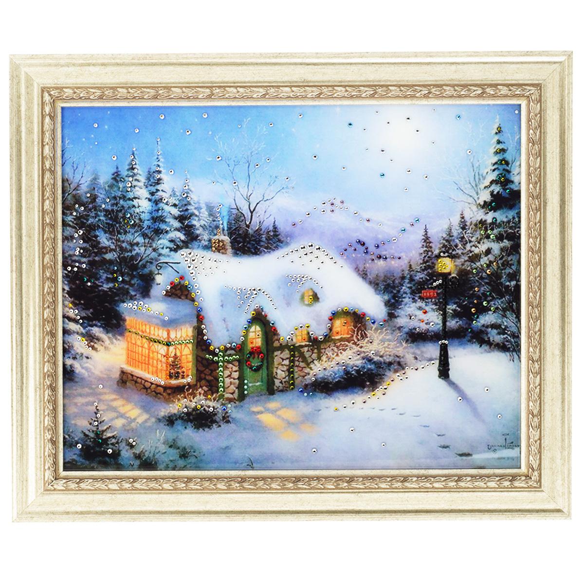 Картина с кристаллами Swarovski Рождество, 60 х 50 см картины в квартиру картина etude 2 102х130 см