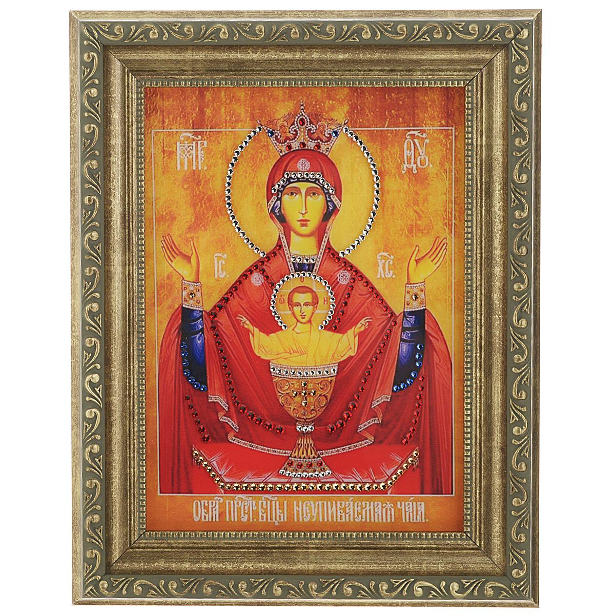 Картина с кристаллами Swarovski Икона Божией Матери. Неупиваемая Чаша, 20 см х 25 см икона янтарная неупиваемая чаша кян 2 218
