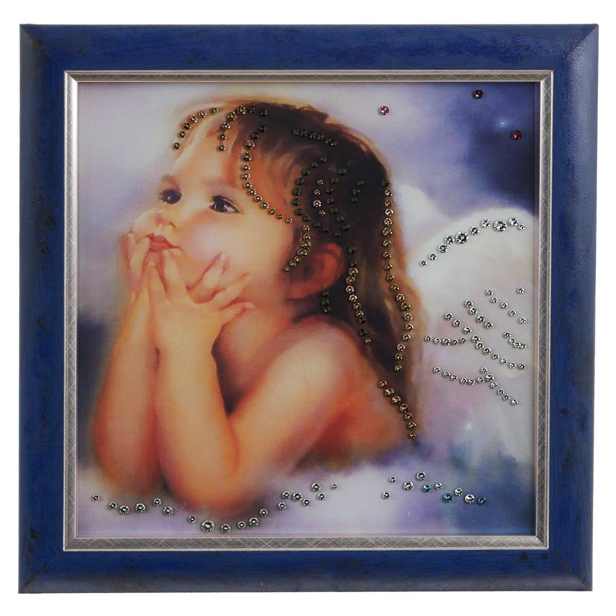 Картина с кристаллами Swarovski Ты мой ангел, 30 см х 30 см1327Изящная картина в раме Ты мой ангел инкрустирована кристаллами Swarovski, которые отличаются четкой и ровной огранкой, ярким блеском и чистотой цвета. Идеально подобранная палитра кристаллов прекрасно дополняет картину. С задней стороны изделие оснащено специальной проволокой для размещения на стене. Картина с кристаллами Swarovski элегантно украсит интерьер дома, а также станет прекрасным подарком, который обязательно понравится получателю. Блеск кристаллов в интерьере - что может быть сказочнее и удивительнее. Изделие упаковано в подарочную картонную коробку синего цвета и комплектуется сертификатом соответствия Swarovski.