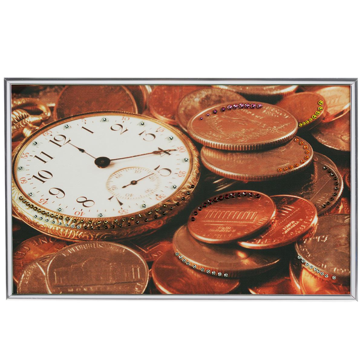 Картина с кристаллами Swarovski Время деньги, 30 см х 20 смPM-2401Изящная картина в металлической раме, инкрустирована кристаллами Swarovski, которые отличаются четкой и ровной огранкой, ярким блеском и чистотой цвета. Красочное изображение часов и монет, расположенное под стеклом, прекрасно дополняет блеск кристаллов. С обратной стороны имеется металлическая петелька для размещения картины на стене.Картина с кристаллами Swarovski Время деньги элегантно украсит интерьер дома или офиса, а также станет прекрасным подарком, который обязательно понравится получателю. Блеск кристаллов в интерьере, что может быть сказочнее и удивительнее. Картина упакована в подарочную картонную коробку синего цвета и комплектуется сертификатом соответствия Swarovski.