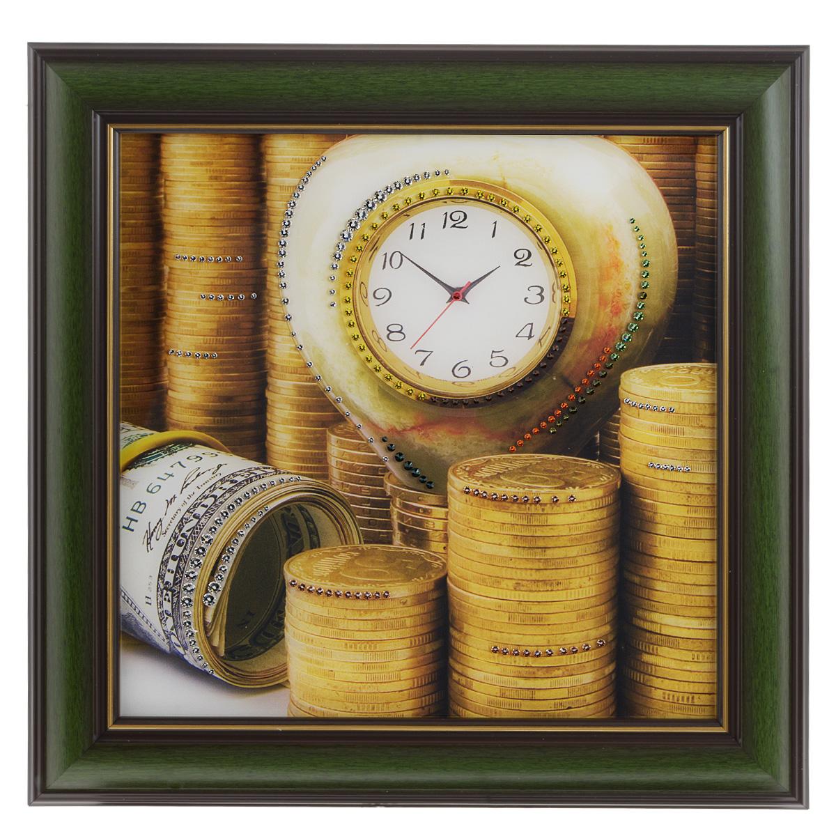 Картина с кристаллами Swarovski Время - деньги 3, 38 х 38 см1327Изящная картина в багетной раме Время - деньги 3 инкрустирована кристаллами Swarovski, которые отличаются четкой и ровной огранкой, ярким блеском и чистотой цвета. Идеально подобранная палитра кристаллов прекрасно дополняет картину. С задней стороны изделие оснащено проволокой для размещения на стене. Картина с кристаллами Swarovski элегантно украсит интерьер дома, а также станет прекрасным подарком, который обязательно понравится получателю. Блеск кристаллов в интерьере - что может быть сказочнее и удивительнее. Изделие упаковано в подарочную картонную коробку синего цвета и комплектуется сертификатом соответствия Swarovski.