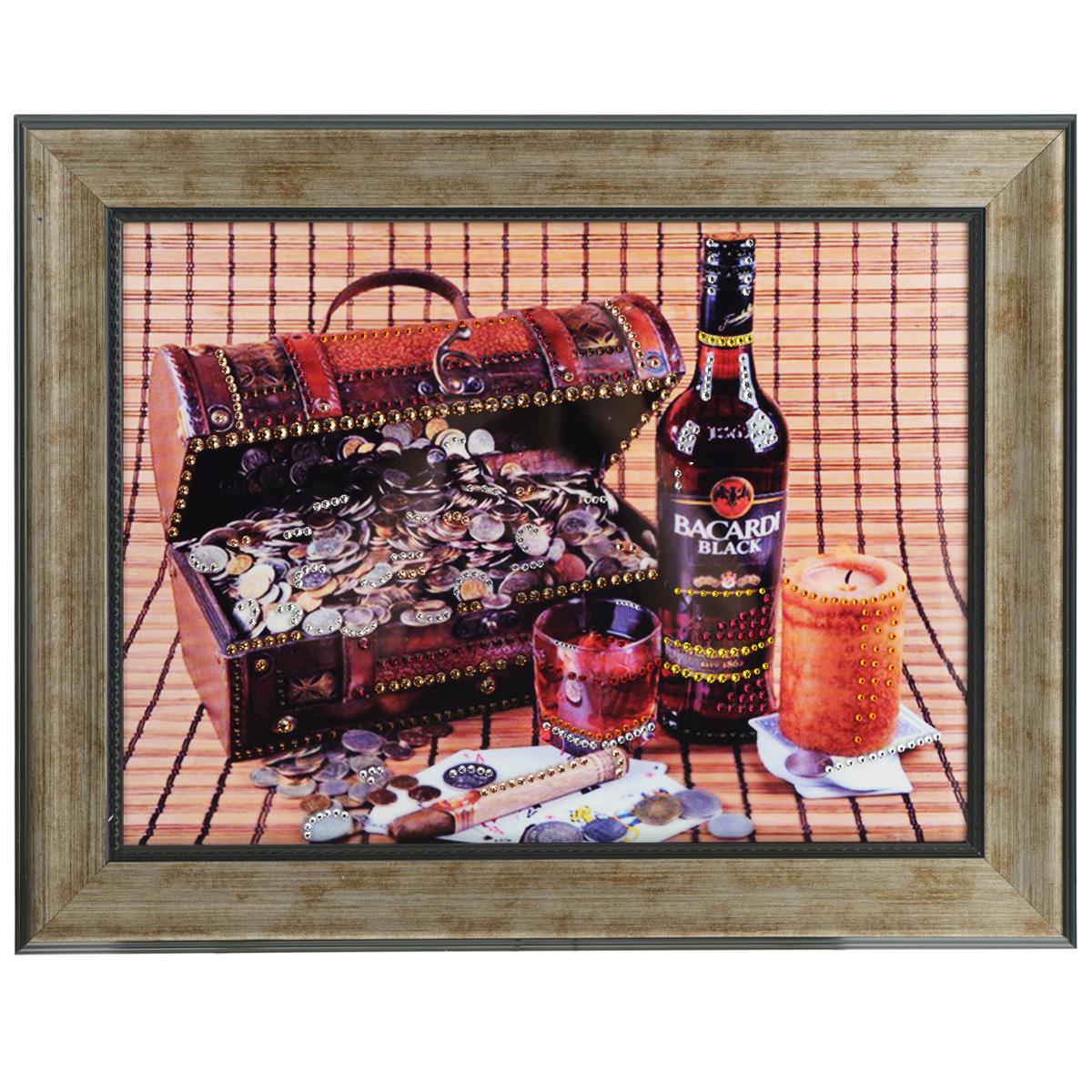 Картина с кристаллами Swarovski Мужской набор, 49 см х 39 смAG 40-13Изящная картина в багетной раме, инкрустирована кристаллами Swarovski, которые отличаются четкой и ровной огранкой, ярким блеском и чистотой цвета. Красочное изображение сундучка с деньгами, бутылки виски и сигары, расположенное под стеклом, прекрасно дополняет блеск кристаллов. С обратной стороны имеется металлическая проволока для размещения картины на стене. Картина с кристаллами Swarovski Мужской набор элегантно украсит интерьер дома или офиса, а также станет прекрасным подарком, который обязательно понравится получателю. Блеск кристаллов в интерьере, что может быть сказочнее и удивительнее. Картина упакована в подарочную картонную коробку синего цвета и комплектуется сертификатом соответствия Swarovski.