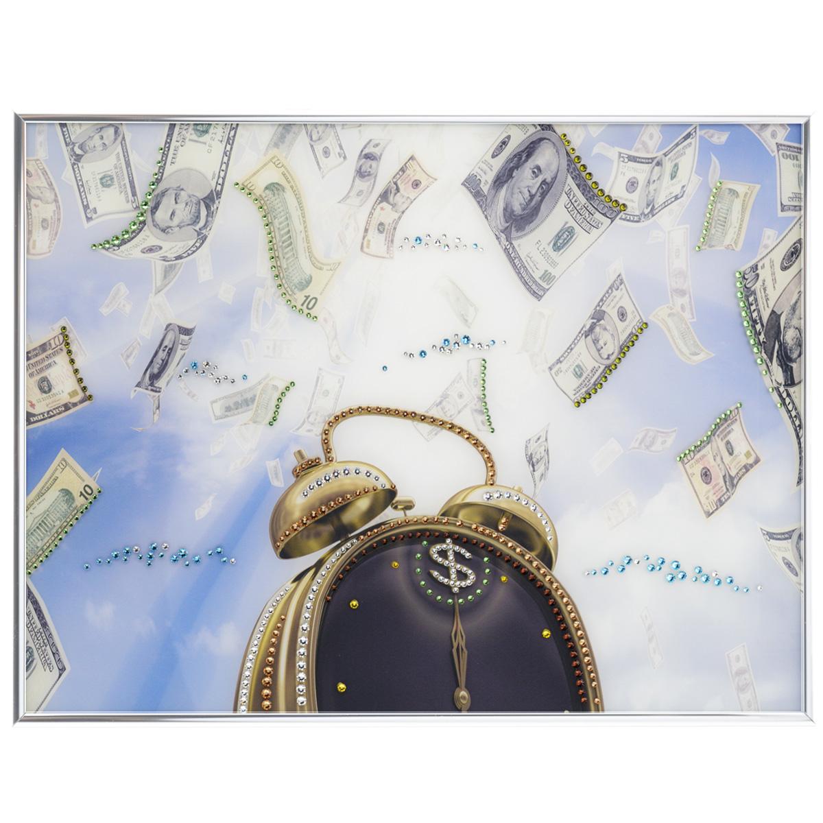 Картина с кристаллами Swarovski Время деньги, 40 х 30 смIDEA FL2-06Изящная картина в металлической раме, инкрустирована кристаллами Swarovski, которые отличаются четкой и ровной огранкой, ярким блеском и чистотой цвета. Красочное изображение будильника и денег, расположенное под стеклом, прекрасно дополняет блеск кристаллов. С обратной стороны имеется металлическая петелька для размещения картины на стене. Картина с кристаллами Swarovski Время деньги элегантно украсит интерьер дома или офиса, а также станет прекрасным подарком, который обязательно понравится получателю. Блеск кристаллов в интерьере, что может быть сказочнее и удивительнее. Картина упакована в подарочную картонную коробку синего цвета и комплектуется сертификатом соответствия Swarovski.