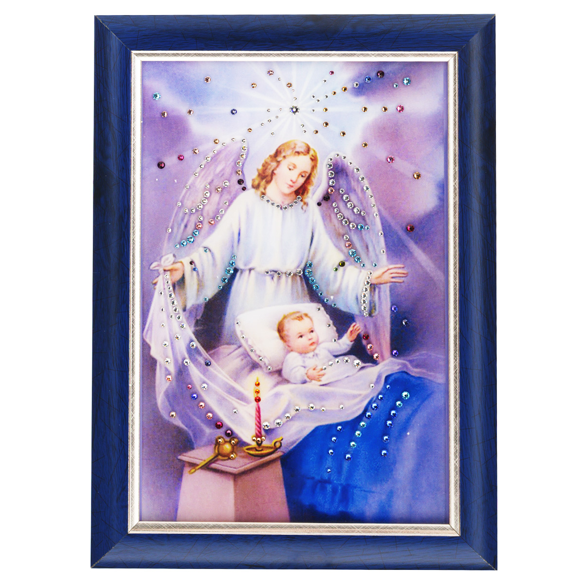 Картина с кристаллами Swarovski Ангел-защитник, 25 см х 35 смPM-4002Изящная картина в багетной раме, инкрустирована кристаллами Swarovski, которые отличаются четкой и ровной огранкой, ярким блеском и чистотой цвета. Красочное изображение ангелочка и ребенка, расположенное под стеклом, прекрасно дополняет блеск кристаллов. С обратной стороны имеется металлическая проволока для размещения картины на стене. Картина с кристаллами Swarovski Ангел-защитник элегантно украсит интерьер дома или офиса, а также станет прекрасным подарком, который обязательно понравится получателю. Блеск кристаллов в интерьере, что может быть сказочнее и удивительнее. Картина упакована в подарочную картонную коробку синего цвета и комплектуется сертификатом соответствия Swarovski.