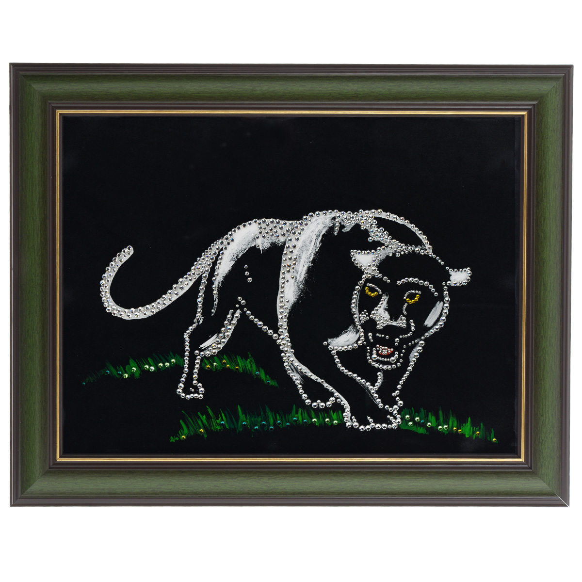 Картина с кристаллами Swarovski Пантера, 48 х 38 см картины в квартиру картина etude 2 102х130 см