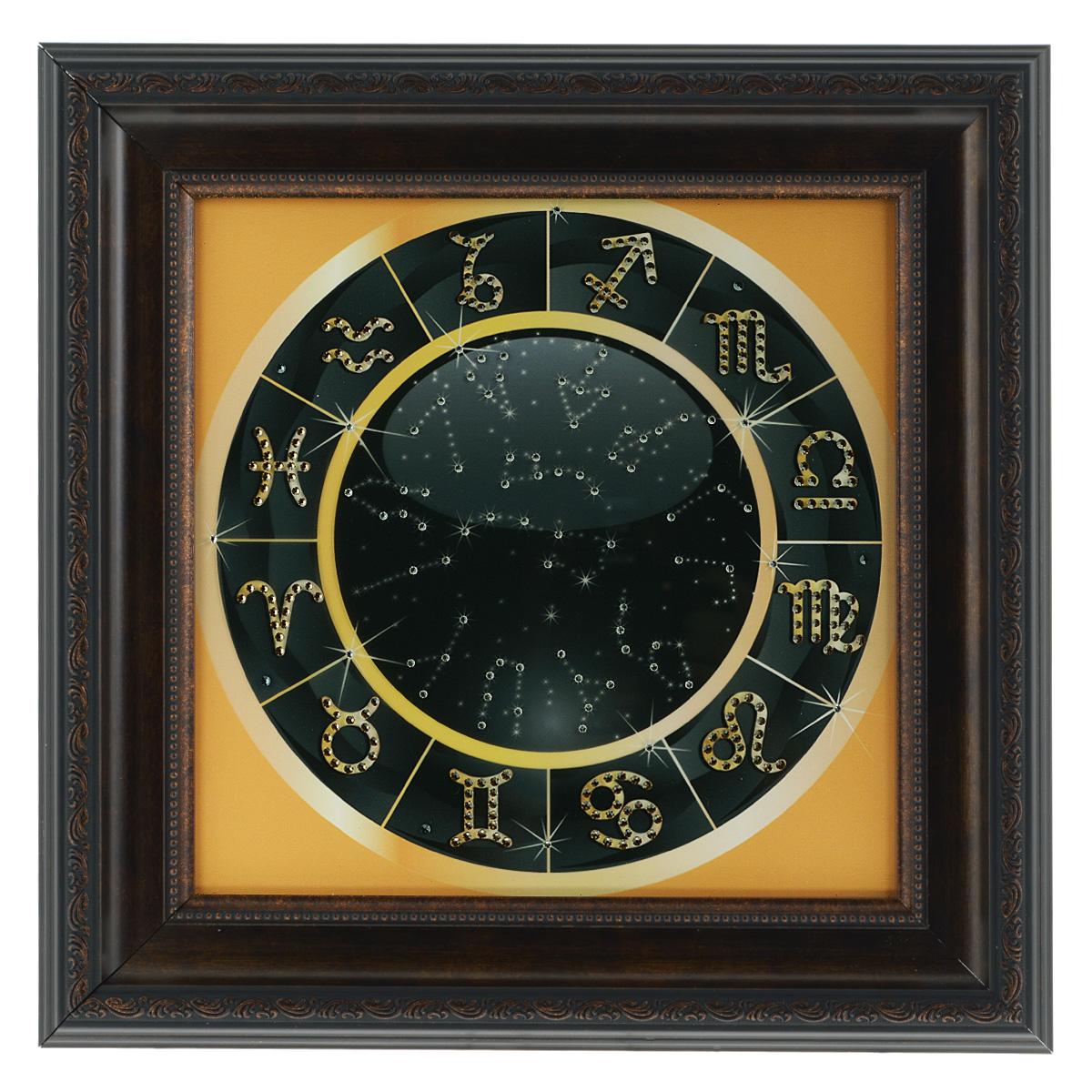 Картина с кристаллами Swarovski Знаки зодиака, 41 х 41 смPM-3003Изящная картина в багетной раме, инкрустирована кристаллами Swarovski, которые отличаются четкой и ровной огранкой, ярким блеском и чистотой цвета. Красочное изображение знаков зодиака, расположенное под стеклом, прекрасно дополняет блеск кристаллов. С обратной стороны имеется металлическая проволока для размещения картины на стене. Картина с кристаллами Swarovski Знаки зодиака элегантно украсит интерьер дома или офиса, а также станет прекрасным подарком, который обязательно понравится получателю. Блеск кристаллов в интерьере, что может быть сказочнее и удивительнее. Картина упакована в подарочную картонную коробку синего цвета и комплектуется сертификатом соответствия Swarovski.