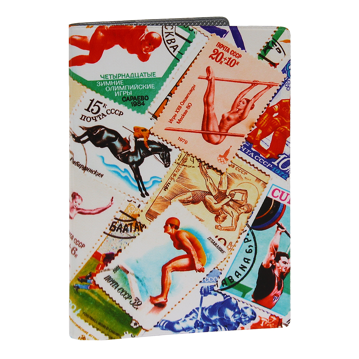 Обложка для паспорта Спорт (марки) 2. OZAM281860Обложка для паспорта Mitya Veselkov Спорт. Марки - 2 выполнена из прочного ПВХ и оформлена изображениями почтовых марок со спортивной тематикой. Такая обложка не только поможет сохранить внешний вид ваших документов и защитит их от повреждений, но и станет стильным аксессуаром, идеально подходящим вашему образу.Яркая и оригинальная обложка подчеркнет вашу индивидуальность и изысканный вкус. Обложка для паспорта стильного дизайна может быть достойным и оригинальным подарком.