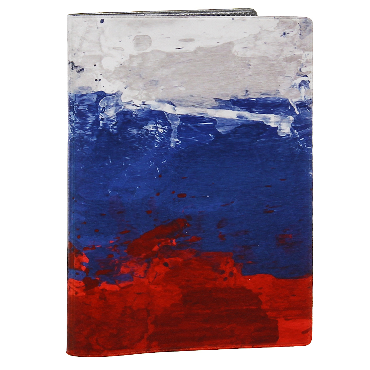 Обложка для автодокументов Флаг Российской Федерации. AUTOZAM293062 BОбложка для автодокументов Mitya Veselkov Флаг Российской Федерации изготовлена из прочного ПВХ и стилизована под нарисованный красками флаг Российской Федерации. На внутреннем развороте имеются съемный блок из шести прозрачных файлов из мягкого пластика для водительских документов, один из которых формата А5, а также два боковых кармашка для визиток или банковских карт.Стильная обложка не только поможет сохранить внешний вид ваших документов и защитит их от грязи и пыли, но и станет аксессуаром, который подчеркнет вашу яркую индивидуальность.