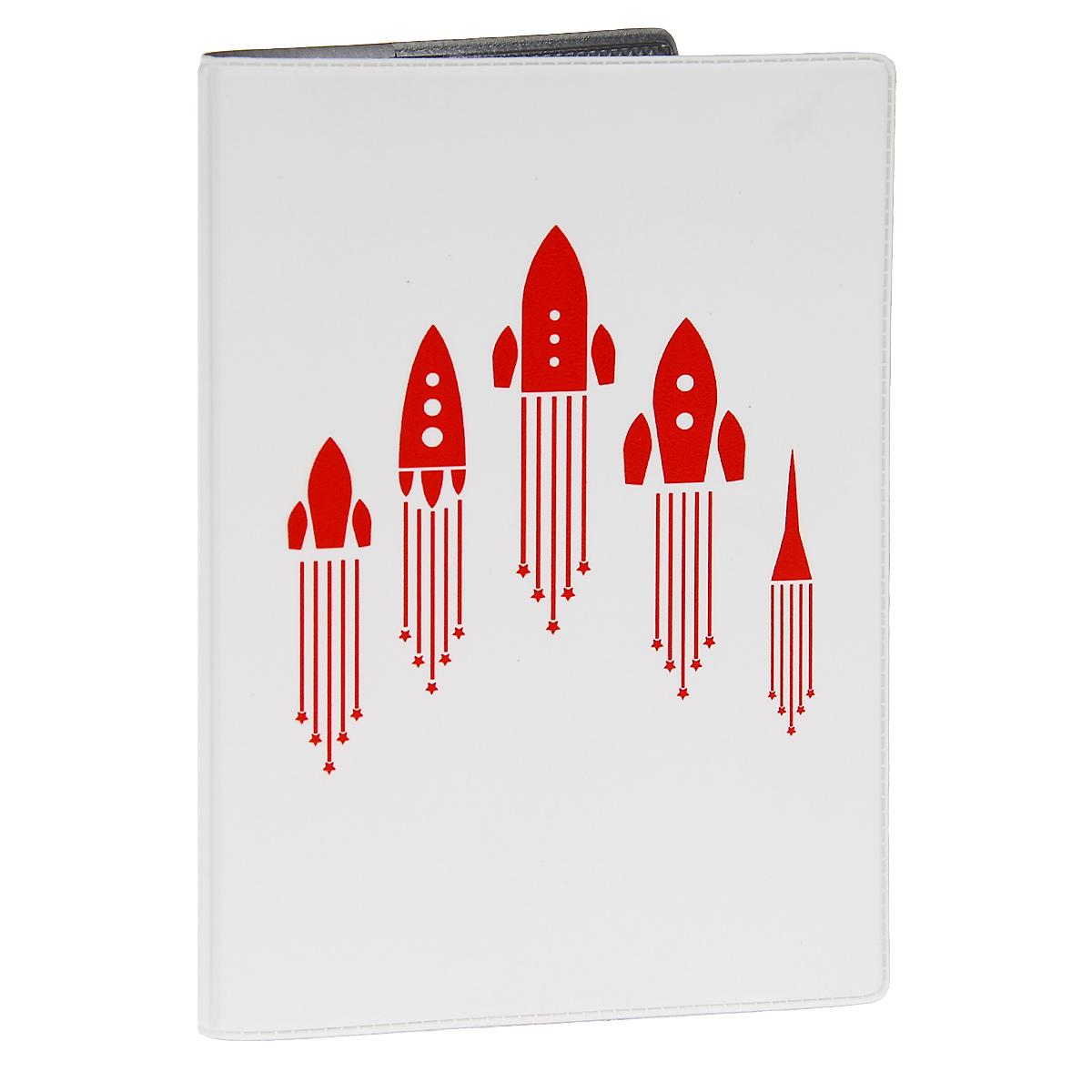 Обложка для автодокументов Ракеты. AUTOZAM285TF 3310-092АОбложка для автодокументов Mitya Veselkov Ракеты изготовлена из прочного ПВХ белого цвета и оформлена изображениями силуэтов пяти взлетающих красных ракет. На внутреннем развороте имеются съемный блок из шести прозрачных файлов из мягкого пластика для водительских документов, один из которых формата А5, а также два боковых кармашка для визиток или банковских карт.Стильная обложка не только поможет сохранить внешний вид ваших документов и защитит их от грязи и пыли, но и станет аксессуаром, который подчеркнет вашу яркую индивидуальность.