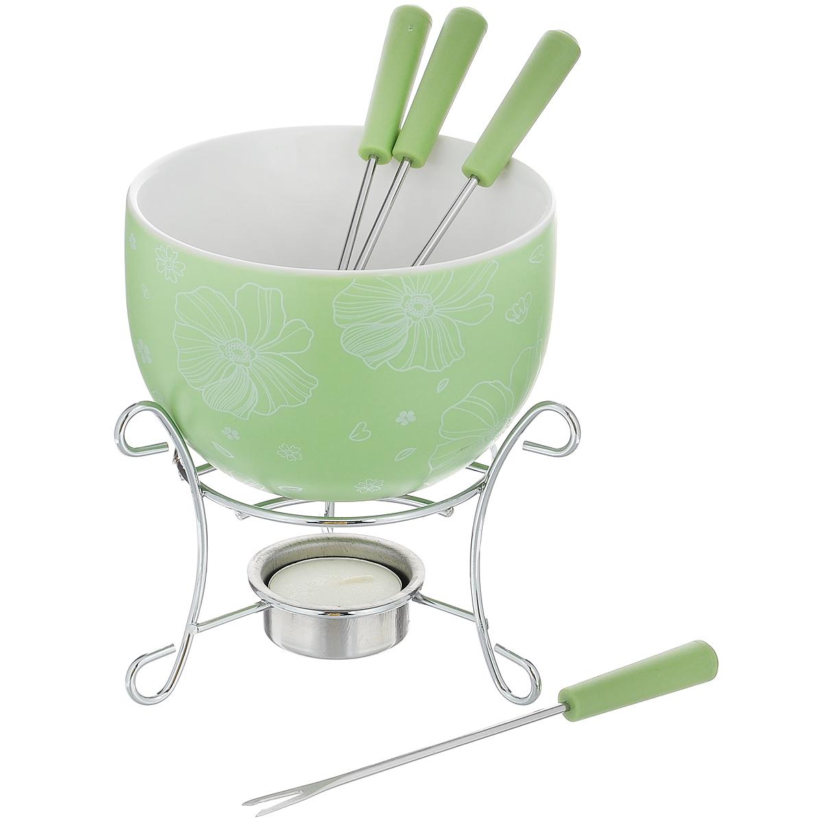 Набор для фондю Fissman Mini, цвет: зеленый, 8 предметовVT-1520(SR)Набор для фондю Fissman Mini состоит из чаши, подставки с подсвечником и 4 вилочек. Чаша изготовлена из глазурованной керамики и декорирована цветочным рисунком. В центре подставки устанавливается свеча-таблетка (входит в комплект), сверху ставится чаша. В наборе имеется 4 вилочки с пластиковыми ручками.В чашечке растапливается шоколад, на вилочки насаживается зефир или фрукты - и вот нехитрый, но очень привлекательный способ украсить вечер в компании самых дорогих и любимых.Диаметр чаши (по верхнему краю): 11,5 см.Высота чаши: 7 см.Высота подставки: 8,5 см.Диаметр отверстия для свечи: 4 см.Длина вилочки: 15 см.