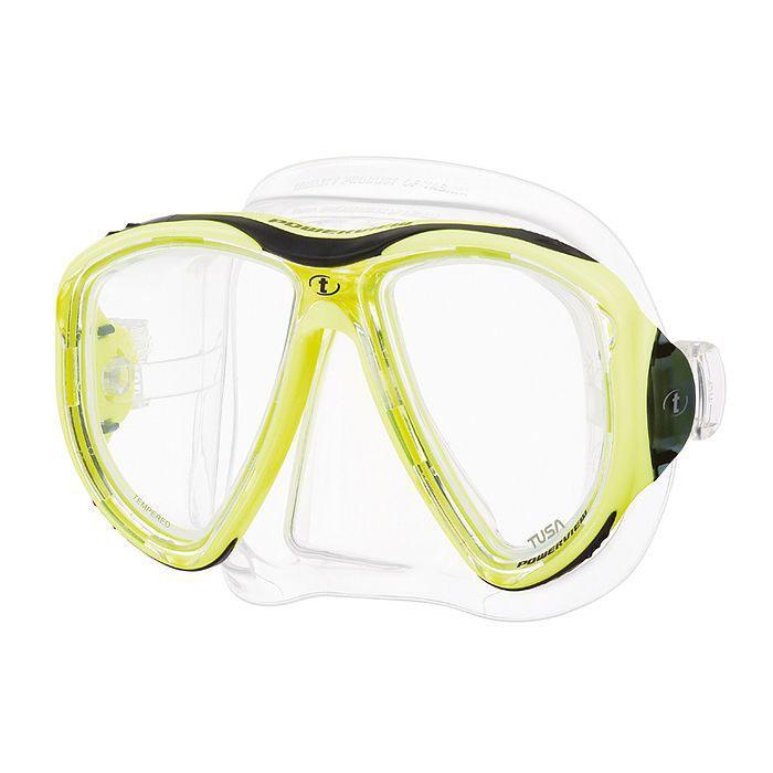 Маска для плавания Tusa Powerview, цвет: желтый10008581Маска M-24 Powerview обладает уникальным двухлинзовым дизайном, который обеспечивает великолепное поле обзора и исключительный комфорт. Тонкая рамка маски выполнена из композитных материалов, поэтому маска имеет меньший вес, повышенную ударопрочность, и ее удобно держать в руках. Вытянутые вниз линзы (в форме перевернутой капли) позволили увеличить обзор вниз на 30% по сравнению с обычными двухлинзовыми масками.Обтюратор маски имеет скругленные края со специальной посадкой обтюратора по линиям наилучшего прилегания к лицу. Характеристики: Цвет: желтый. Ширина оправы маски: 16 см. Размер упаковки: 20 см x 11 см x 12 см. Материал: силикон, стекло, пластик. Артикул: TS M-24 FY.Производитель: Тайвань.