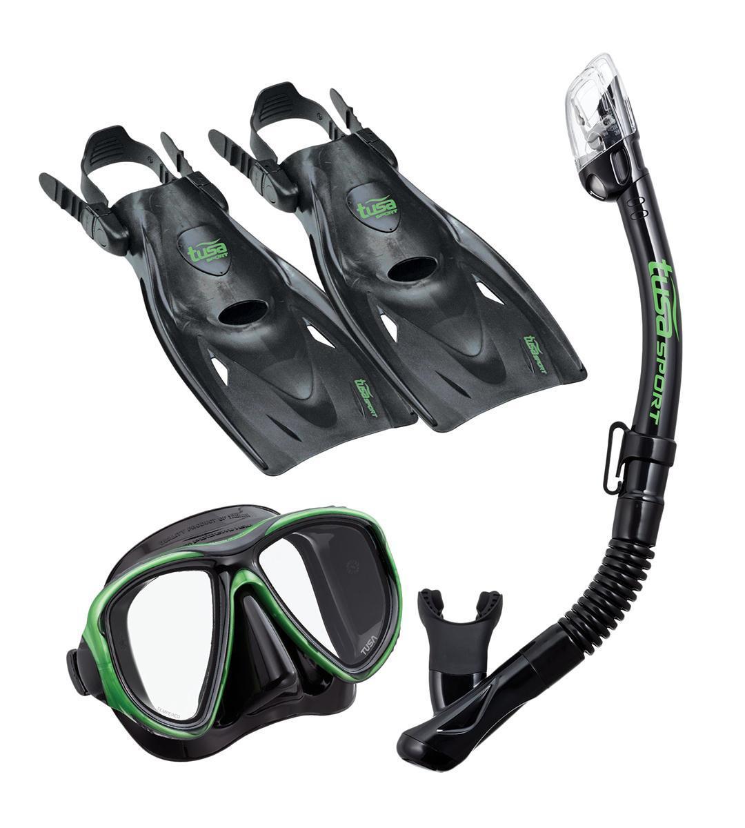 Комплект для плавания Tusa Sport TS UPR2521B BK/SG, р.L (40 -46) цвет: черный, зеленый, размер 40-46TS UPR2521B BKSGКомплект для путешествийPowerviewdry с сухой трубкойвключает двухлинзовую маску с увеличенным полем зрения, регулируемым ремешком с пряжками, линзами из закаленного стекла ClearVu, ремешком и обтюратором из гипоаллергенного силикона. Хорошо садиться на узкие и средние лица. Возможность установки диоптрийных линз (приобретаются отдельно). Трубка оснащена сухим верхним клапаном с запатентованной технологией TUSA Hyperdry Elite, защищающим трубку от попадания воды, дренажной камерой и стравливающим клапаном для легкой очистки трубки от воды, а гофрированный сегмент и загубник выполнены из прозрачного гипоаллергенного силикона.Ласты усовершенствованного дизайна имеют укороченную лопасть Мульти-флекс с технологией гидродинамических каналов для максимальной эффективности гребка и удобную калошу из мягкого, но прочного материала. Открытая пятка позволяет легко и быстро подгонять ласты по размеру, а прочный силиконовый ремешок обеспечивает комфорт. Эта модель ласт, несмотря на компактный размер, обеспечивает большую мощность гребка. Ласты имеют небольшой вес и идеально подходят для путешествий.Комплект поставляется со специальной сумочкой для перевозки. Характеристики:Материал: пластик, силикон, стекло, резина. Размер маски: 15 см x 10 см. Размер ласт: 40-46. Размеры ласт(ДхШ): 34 см х 16,5 см. Общая длина трубки: 45 см. Размер упаковки: 49 см x 25 см x 11 см. Производитель: Тайвань. Артикул:TS UPR2521B BKSG.
