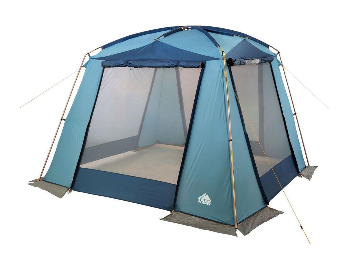 Шатер-тент TREK PLANET DINNER DOME, 350 см х 350 см х 210 см, цвет: синий, голубой70250Универсальный шатер четырехугольной формы TREK PLANET Dinner Dome с большим внутренним помещением и прекрасной обзорностью отлично подойдет как для дачи, так и для кемпинга. При открытых по всему периметру окнах - хорошо проветривается. При полностью закрытых шторках - полностью защищает от дождя.Особенности шатра:- легко собирается и разбирается;- устойчив на ветру;- тент шатра из полиэстера, с пропиткой PU водостойкостью 2000 мм, надежно защитит от дождя и ветра, все швы проклеены;- каркас: боковые стойки из стали, потолочные дуги из прочного стеклопластика; - большие москитные сетки во всю ширину окон и дверей;- защитные шторы на каждом окне и двери;- два входа в шатер;- защитным полог по всему периметру защищает от ветра, дождя и насекомых;- возможность подвески фонаря в палатке;- материал дуг: стеклопластик 12,7/11 мм, сталь 19 мм;- размер в сложенном виде: 23 см х 23 см х 87 см.Палатка упакована в сумку-чехол с ручками, застегивающуюся на застежку-молнию.