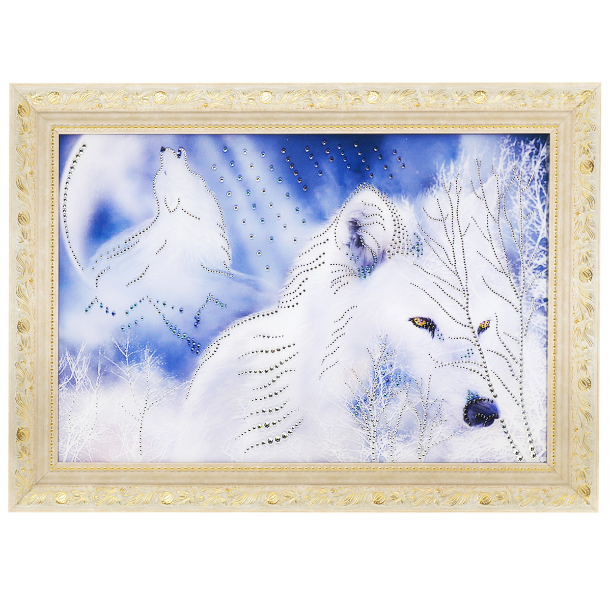 Картина с кристаллами Swarovski Белые волки, 70 см х 50 смIDEA FL2-07Изящная картина в багетной раме, инкрустирована кристаллами Swarovski, которые отличаются четкой и ровной огранкой, ярким блеском и чистотой цвета. Красочное изображение белых волков, расположенное под стеклом, прекрасно дополняет блеск кристаллов. С обратной стороны имеется металлическая проволока для размещения картины на стене. Картина с кристаллами Swarovski Белые волки элегантно украсит интерьер дома или офиса, а также станет прекрасным подарком, который обязательно понравится получателю. Блеск кристаллов в интерьере, что может быть сказочнее и удивительнее. Картина упакована в подарочную картонную коробку красного цвета и комплектуется сертификатом соответствия Swarovski.