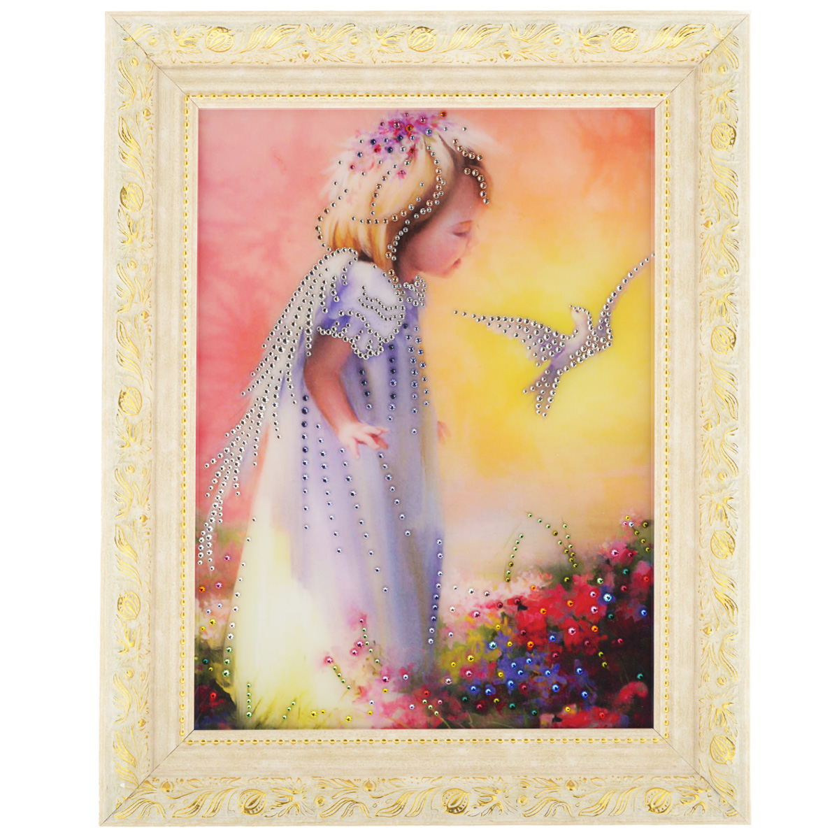Картина с кристаллами Swarovski Детство, 50 см х 40 см26x40 OZ110-504011Изящная картина в багетной раме, инкрустирована кристаллами Swarovski, которые отличаются четкой и ровной огранкой, ярким блеском и чистотой цвета. Красочное изображение маленькой девочки и птички, расположенное под стеклом, прекрасно дополняет блеск кристаллов. С обратной стороны имеется металлическая проволока для размещения картины на стене. Картина с кристаллами Swarovski Детство элегантно украсит интерьер дома или офиса, а также станет прекрасным подарком, который обязательно понравится получателю. Блеск кристаллов в интерьере, что может быть сказочнее и удивительнее. Картина упакована в подарочную картонную коробку синего цвета и комплектуется сертификатом соответствия Swarovski.