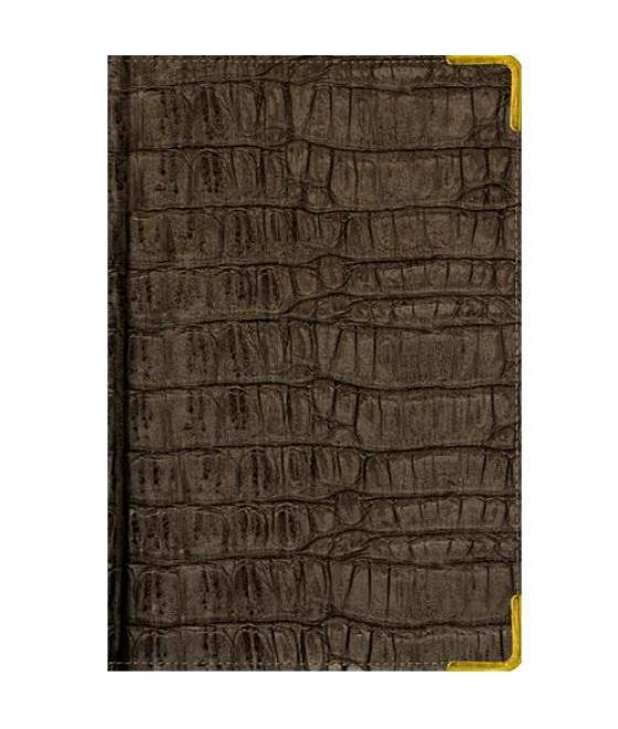 Ежедневник А5 Полудатированный Skin (серо-коричневый) 192л. (BUSINESS PRESTIGE) Искусственная кожа с поролоном72523WDВ линейке бизнес-ежедневников представлены датированные, полудатированные и недатированные внутренние блоки на офсетной бумаге плотностью 70гр.м. Коллекция прекрасно подходит в качестве подарка. Обложка обладаетвозможностью термотиснения. Внутренний блок прошит, что гарантирует отсутствие потери листов при активном использовании. Цветные форзацы подчеркивают высокий статус ежедневника. Металлические скругленные углы защищают эту серию продукции при активном использовании. Особый шарм и статус ежедневникам придает разнообразие отделок поверхностей. Исследование с фокус-группами показало, что качество текстур неотличимо от оригинальных поверхностей. Доступный статус - кредо коллекции Business Prestige! Виды отделки: Ancient (гладкая и мягкая кожа), Iguana, Skin, Gold, Nappa, Croco, Grand croco, Impact. Разметка: . Бумага: . Формат: А5. Пол: Унисекс. Особенности: металлические уголки, цветной торец (золото), бумага тонированная, ляссе 2шт..