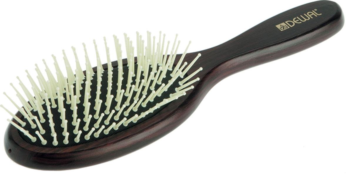 Dewal Расческа массажная, с пластиковыми зубцами. BR20140MP59.3DВ ассортименте торговой марки Dewal (Деваль) имеются расчески на все случаи жизни, с помощью которых можно выполнять стрижки, укладки, модельные причёски и другие манипуляции с волосами. Вообще расческа для волос считается для парикмахера самым простым, но при этом незаменимым инструментом. Массажная деревянная щетка с пластмассовыми зубцами (что делает расческу более мягкой и менее травматичной для кожи головы) идеальна для расчесывания любых волос и массажа кожи головы, специальная форма зубцов обеспечивает наиболее бережное соприкосновение с кожей головы. Продуманная конструкция, эргономичный дизайн обеспечивают комфортную работу парикмахера. Расчёски с лёгкостью скользят по волосам, удобно ложатся в руку. Товар сертифицирован.