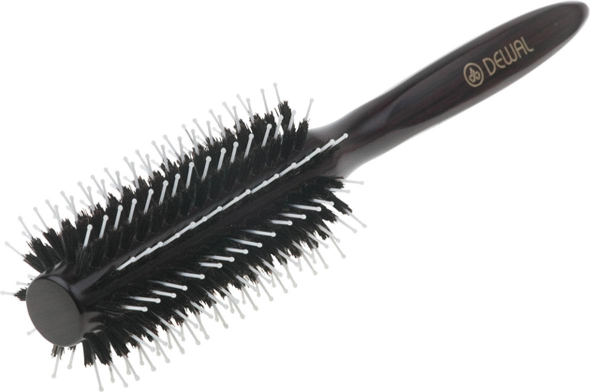 Dewal Расческа круглая, с натуральной щетиной и пластиковыми зубцами. BR2050