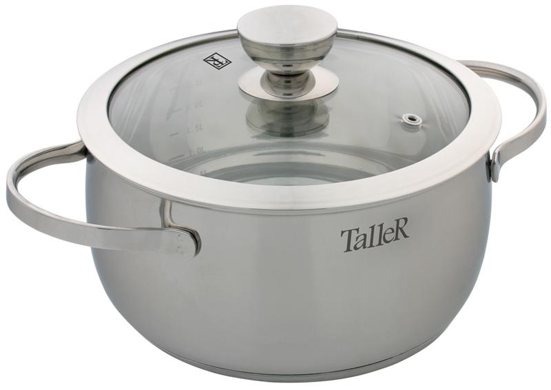Кастрюля Taller Хантли с крышкой, 3 л54 009312Кастрюля Taller Хантли изготовлена из высококачественной нержавеющей стали 18/10 с зеркальной полировкой. Удобные отметки литража на внутренней поверхности посуды позволяют не использовать при приготовлении дополнительную мерную посуду. Капсулированное дно с алюминиевой вставкой обеспечивает идеальное распределение тепла. Комбинированная крышка из нержавеющей стали и жаропрочного стекла позволяет следить за процессом приготовления, не открывая крышки. Специальное отверстие для выхода пара позволяет готовить с закрытой крышкой, предотвращая выкипание. Ручки изготовлены из высококачественной нержавеющей стали. Надежное крепление ручек гарантирует безопасное использование. Подходит для всех типов плит, включая индукционные. Не использовать в духовом шкафу. Можно мыть в посудомоечной машине. Высота стенки: 10,5 см. Толщина стенки: 0,8 мм. Толщина дна: 5,3 мм. Ширина кастрюли (с учетом ручек): 29 см. Диаметр дна: 17,5 см.