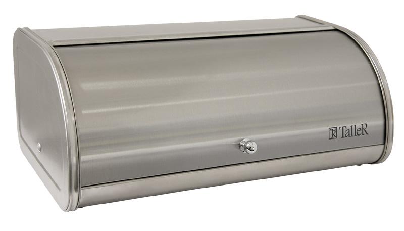 Хлебница Taller Аманда, 44 х 26 х 17 см4630003364517Хлебница Taller Аманда обеспечивает идеальные условия хранения для различных видов хлебобулочных изделий, надолго сохраняя их свежесть и защищая от воздействия внешних факторов (запахов и влаги). Изделие отличается вместительностью: объем достаточен для хранения нескольких хлебобулочных изделий. Прочная конструкция каркаса гарантирует долговечное использование. Хлебница выполнена из высококачественной нержавеющей стали. Матовая полировка наружной поверхности устойчива к царапинам. Крышка открывается мягко и бесшумно, благодаря специальной конструкции боковых креплений и комбинированному стопперу на внутренней стороне. Стоппер усилен стальной вставкой, которая предотвращает его деформацию, продлевает срок службы и органично вписывается в дизайн хлебницы. Эргономичный дизайн крышки не требует дополнительного места при открывании. Крышка снабжена удобной ручкой. Плоская поверхность крышки обеспечивает дополнительное рабочее пространство. Хлебница снабжена специальной пластиковой решеткой для хлеба. Нескользящие протекторы на основании хлебницы, выполненные из силикона, предотвращают скольжение и защищают поверхность стола от повреждений. Такая хлебница идеально впишется в интерьер любой кухни и сохранит ваш хлеб свежим и вкусным.
