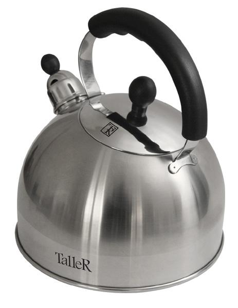 Чайник Taller Brent со свистком, 3 л. TR-1344115510Чайник Taller Brent выполнен из высококачественной нержавеющей стали, что обеспечивает долговечность использования. Ручки чайника и крышки выполнены из бакелита, благодаря чему они не нагреваются, что придает большую комфортность в использовании чайника. Внешнее матовое покрытие корпуса с зеркальной полоской придает приятный внешний вид. Крышка имеет зеркальное покрытие. Чайник снабжен свистком, закипание сопровождается звуковым сигналом. На внешней поверхности имеется удобная отметка литража. Капсулированное дно с алюминиевой вставкой обеспечивает идеальное распределение тепла. Чайник Taller Brent пригоден для мытья в посудомоечной машине. Подходит для всех видов плит, включая индукционные.