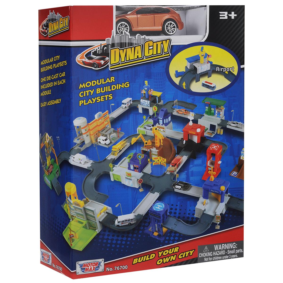 Игровой набор MotorMax Dyna City: Аэропорт, с машинкой motormax трансформирующийся в аэропорт