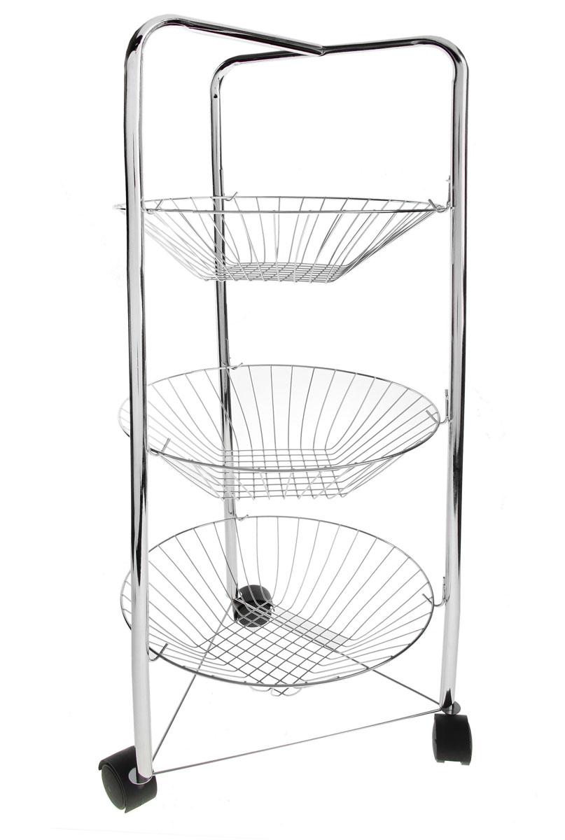 Этажерка Доляна, 3-х ярусная, на колесиках, 30 см х 30 см х 75 смS03301004Изящная этажерка Доляна выполнена из металла. Предназначена для хранения различных предметов на кухне или в ванной. На кухне в ней можно хранить овощи и фрукты, в ванной - различные ванные принадлежности. Этажерка содержит съемные круглые корзинки из металлической проволоки. Благодаря колесикам этажерку можно перемещать в любую сторону без особых усилий. Очень удобная и компактная, но в тоже время вместительная, она прекрасно впишется в пространство любого помещения. Этажерка придется особенно кстати, если у вас небольшая ванная или кухня: она занимает минимум пространства. Легко собирается и разбирается. Размер этажерки (ДхШхВ): 30 см х 30 см х 75 см. Диаметр корзинки: 30 см. Высота корзинки: 7 см.