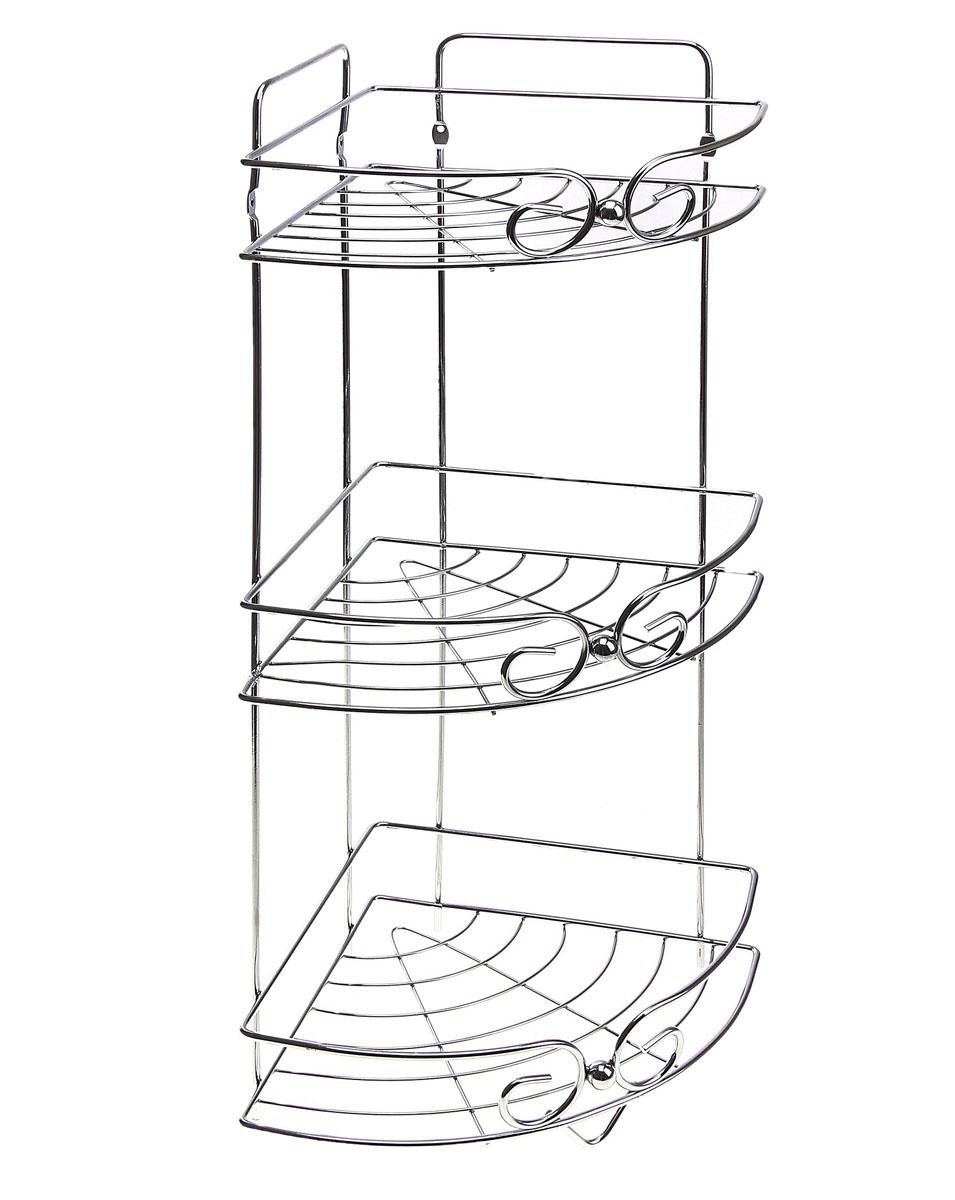 Полка угловая Доляна, 3-х ярусная, высота 58 смS03301004Полка Доляна выполнена из высококачественного металла и предназначена для хранения вещей в ванной комнате. Полка угловая и состоит из 3-х ярусов одинакового размера с бортиком по краю. Она пригодится для хранения различных предметов, которые всегда будут под рукой.Благодаря компактным размерам полка впишется в интерьер вашего дома и позволит вам удобно и практично хранить предметы домашнего обихода.Удобная и практичная металлическая полочка станет незаменимым аксессуаром в вашем хозяйстве. Высота полки: 58 см.Размер яруса: 21 см х 21 см.Расстояние между ярусами: 23 см.