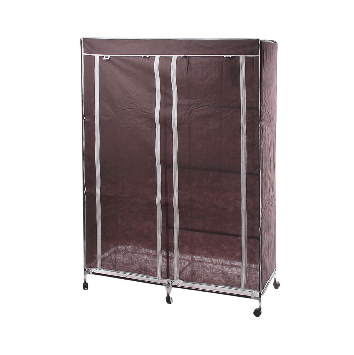 Мобильный шкаф для одежды Sima-land, цвет: коричневый, 120 х 50 х 175 см 178922852965Мобильный шкаф для одежды Sima-land, предназначенный для хранения одежды и других вещей, это отличное решение проблемы, когда наблюдается явный дефицит места или есть временная необходимость. Складной тканевый шкаф - это мобильная конструкция, состоящая из сборного металлического каркаса, на который натянут чехол из нетканого полотна. Корпус шкафа сделан из легкой, но прочной стали, а обивка из полиэстера, который можно легко стирать в стиральной машинке. Шкаф оснащен двумя отделами с текстильными дверями, которые закрываются на застежки-молнии. Чтобы открыть шкаф вы можете скрутить двери и зафиксировать их наверху с помощью ремешков на липучках. В одном отделе присутствует перекладина для хранения вещей на вешалках, во втором отделе - 3 вместительные полки. Изделие снабжено колесиками для удобной транспортировки.
