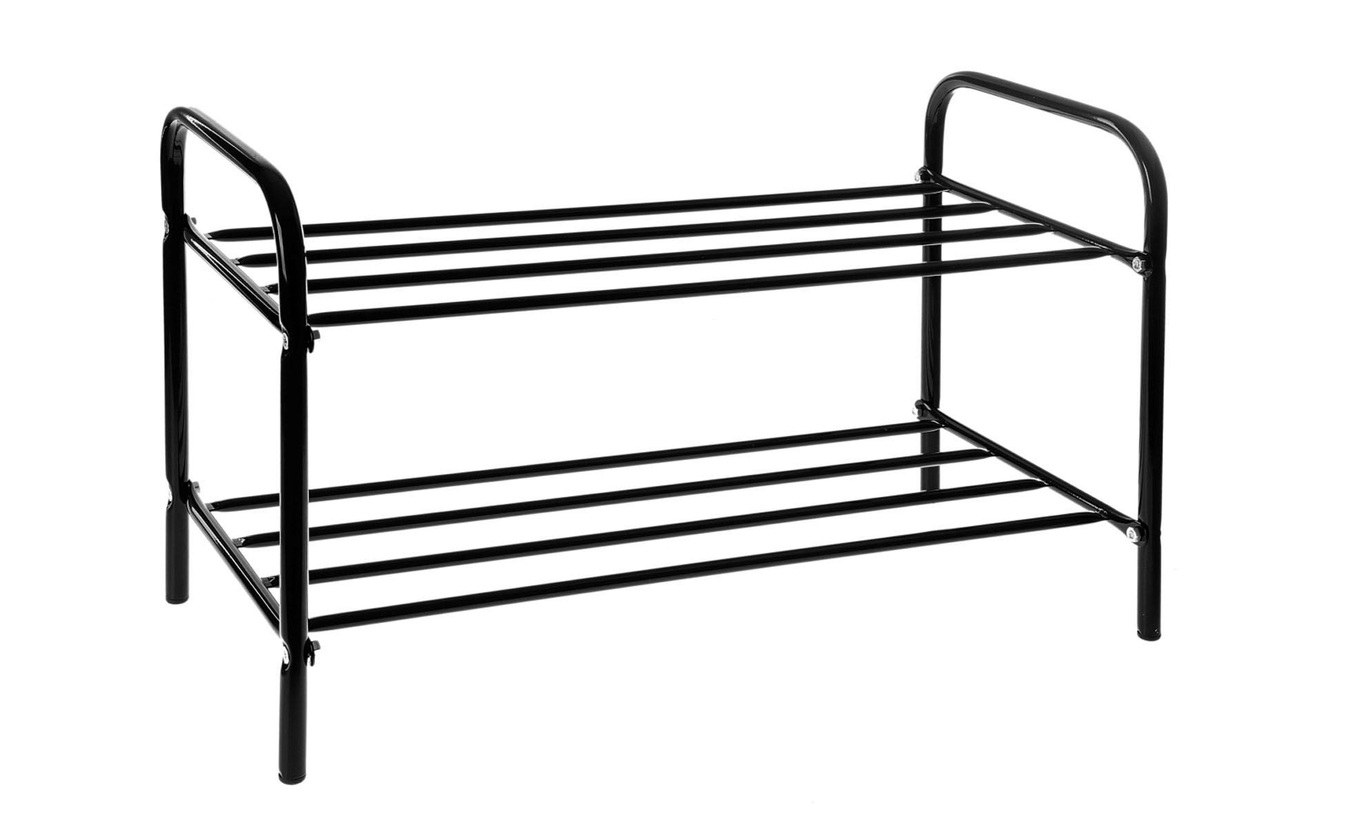 Подставка для обуви, 2 яруса, цвет: черный, 60 х 30 х 37 см531-301Подставка для обуви представляет собой этажерку, выполненную из высококачественной стали. Содержит 2 яруса, на которых можно разместить по несколько пар обуви. Удобная, компактная и вместительная, такая подставка идеально впишется в интерьер прихожей. Она поможет легко организовать пространство и аккуратно хранить вашу обувь, стильный и необычный дизайн сделает ее оригинальным элементом декора.Крепления для сборки в комплекте. Размер подставки (ДхШхВ): 60 см х 30 см х 37 см.
