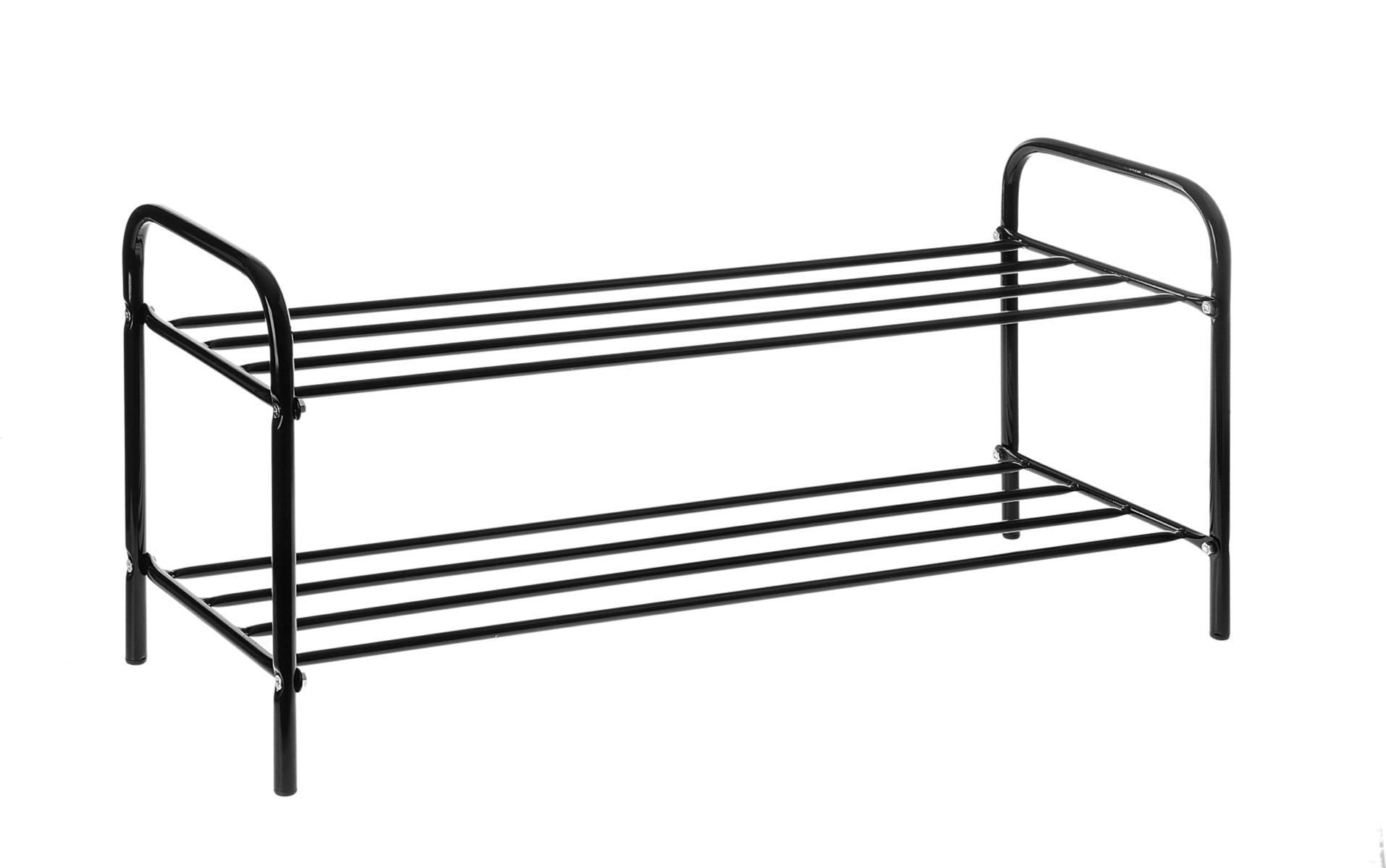 Подставка для обуви, 2 яруса, цвет: черный, 80 см х 30 см х 37 см192510Подставка для обуви представляет собой этажерку, выполненную из высококачественной стали. Содержит 2 яруса, на которых можно разместить по несколько пар обуви. Удобная, компактная и вместительная, такая подставка идеально впишется в интерьер прихожей. Она поможет легко организовать пространство и аккуратно хранить вашу обувь, стильный и необычный дизайн сделает ее оригинальным элементом декора.Крепления для сборки в комплекте. Размер подставки (ДхШхВ): 80 см х 30 см х 37 см.