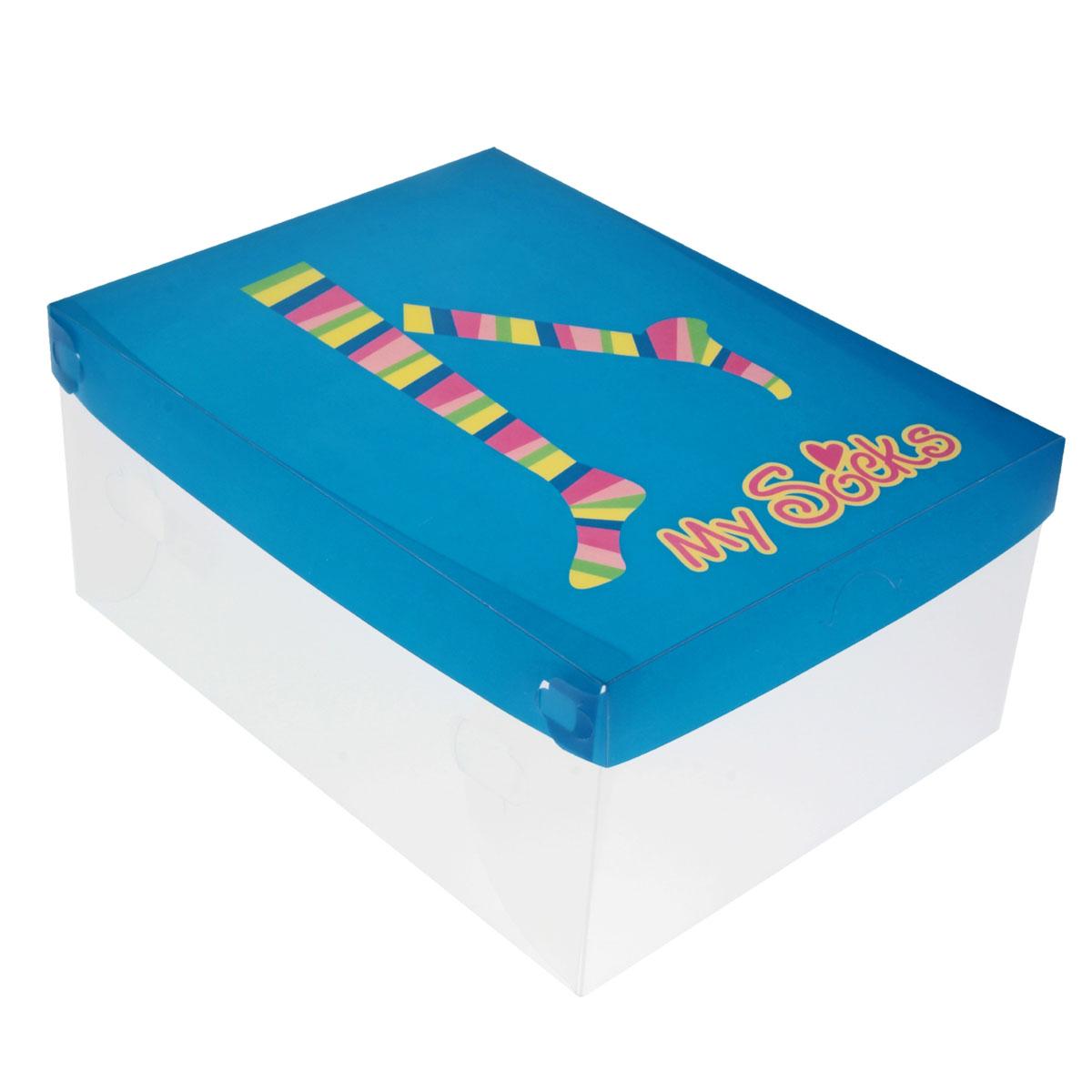 Коробка для хранения Sima-land Носочки, 30 см х 22,5 см х 13,5 см2400604596370Коробка для хранения Sima-land Носочки изготовлена из высококачественного прозрачного пластика. Коробка имеет пластиковую крышку, которая декорирована изображением носков и надписью My Socks. Коробка специально предназначена для хранения носков. Изделие легко собирается и не занимает много места. В коробке имеется отверстие, обеспечивающее естественную вентиляцию вещей.Коробка для хранения Sima-land Носочки - идеальное решение для аккуратного хранения ваших вещей. Размер коробки: 30 см х 22,5 см х 13,5 см.