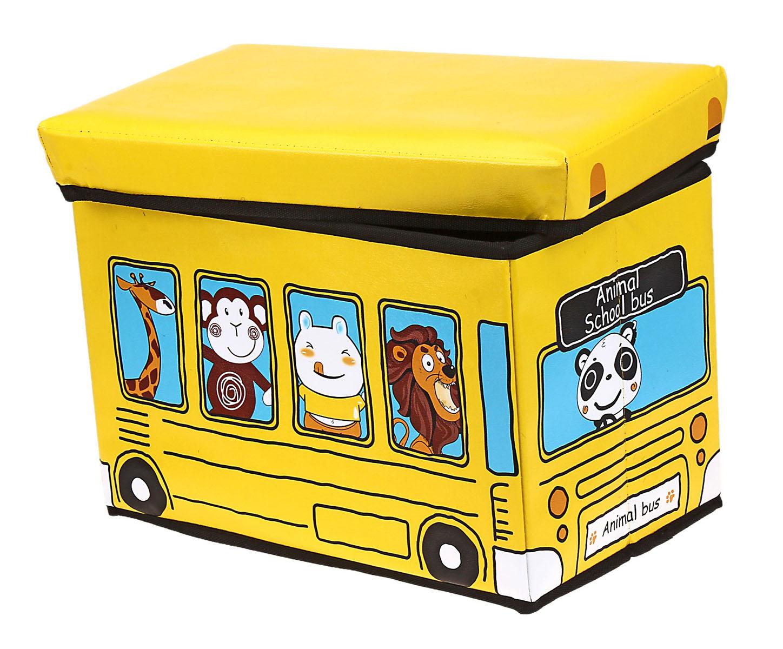 Коробка для хранения Sima-land Автобус с животными, цвет: желтый, 40 х 25 х 25 см74-0060Коробка для хранения Sima-land Автобус с животными изготовлена из искусственной кожи и картона. Коробка имеет съемную, мягкую крышку. Материал коробки позволяет сохранять естественную вентиляцию, а воздуху свободно проникать внутрь, не пропуская пыль. Благодаря специальным вставкам, коробка прекрасно держит форму, что позволяет ее использовать как дополнительное посадочное место для ребенка. Эстетичный дизайн коробки понравиться вашему ребенку. Компактные габариты коробки не загромождают помещение. Коробку можно хранить в обычном шкафу. Внутренняя емкость позволяет хранить внутри игрушки, книжки и прочие предметы. Мобильность конструкции обеспечивает складывание и раскладывание одним движением.Коробка Sima-land Автобус с животными поможет хранить игрушки все в одном месте, а также защитить их от пыли, грязи и влаги. Размер коробки: 40 см х 25 см х 25 см.