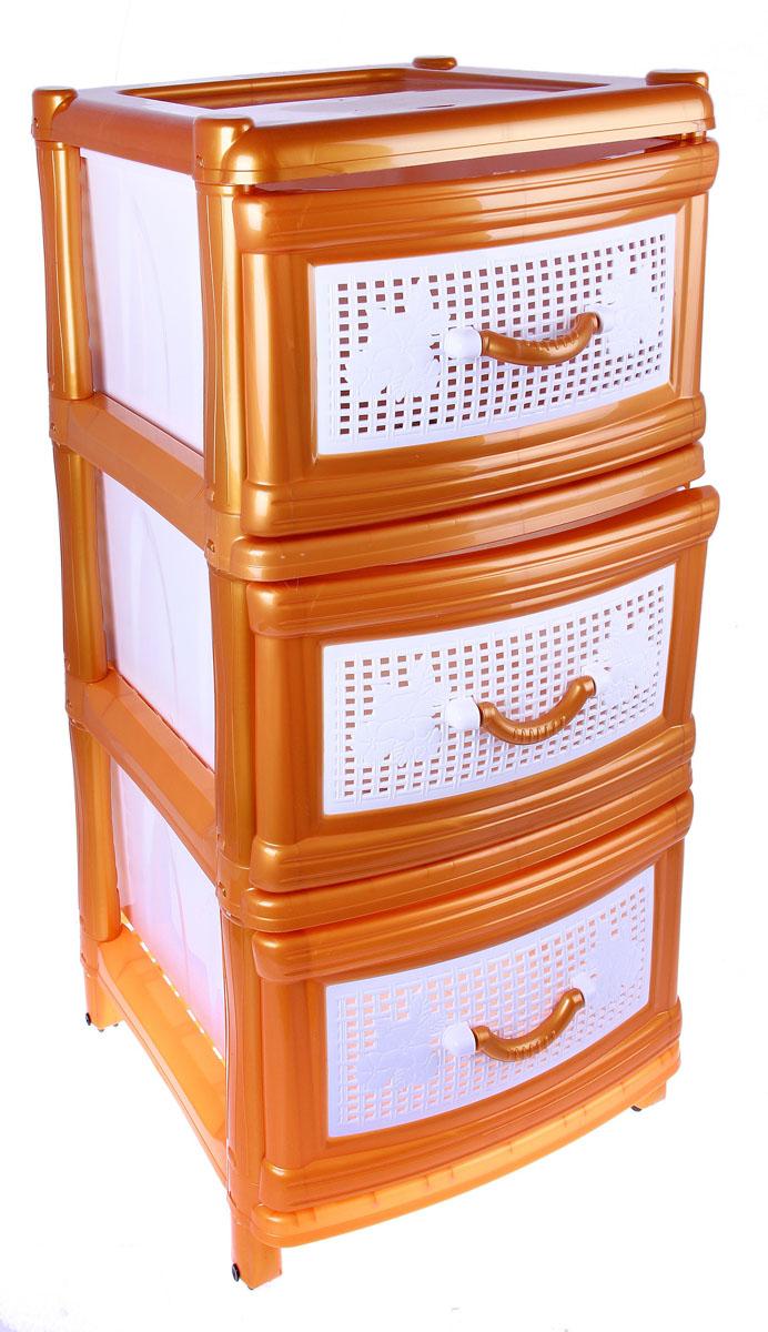 Комод Альтернатива, цвет: золотой, 38 см х 48 см х 74 см74-0120Комод Альтернатива изготовлен из высококачественного экологически безопасного пластика. Он предназначен для хранения вещей, детских игрушек, хозяйственных принадлежностей и прочих предметов. Комод состоит из трех вместительных выдвижных ящиков с ручками и оснащен четырьмя ножками. Комод Альтернатива надежно защитит ваши вещи от загрязнений, пыли и моли, а также позволит вам хранить их компактно и с удобством. Размер ящиков: 35 см х 45 см х 20 см.