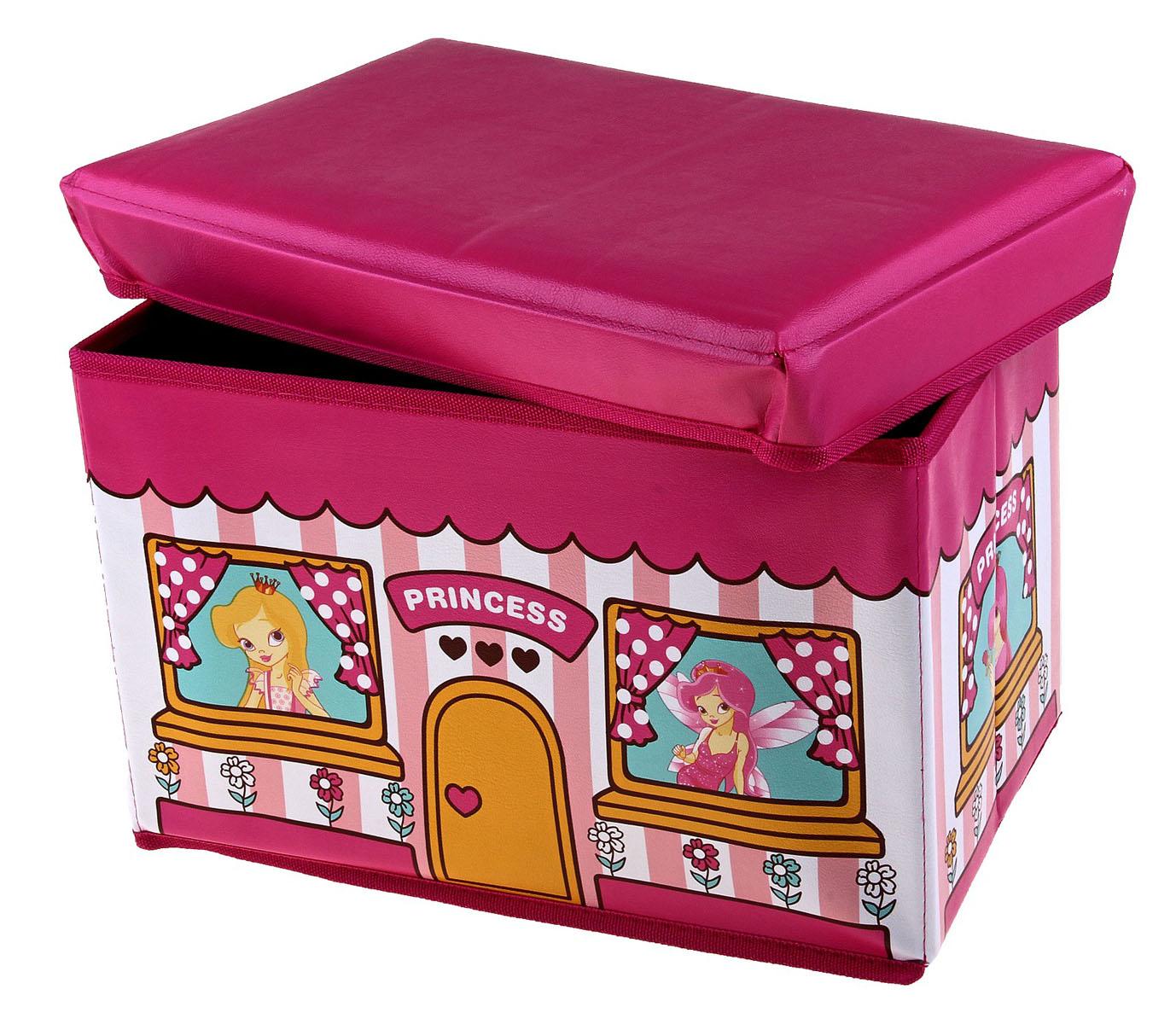 Коробка для хранения Sima-land Принцесса, 40 х 25 х 25 см648345Коробка для хранения Sima-land Принцесса изготовлена из искусственной кожи и картона. Коробка имеет съемную, мягкую крышку. Материал коробки позволяет сохранять естественную вентиляцию, а воздуху свободно проникать внутрь, не пропуская пыль. Благодаря специальным вставкам, коробка прекрасно держит форму, что позволяет ее использовать как дополнительное посадочное место для ребенка. Эстетичный дизайн коробки понравиться вашему ребенку. Компактные габариты коробки не загромождают помещение. Коробку можно хранить в обычном шкафу. Внутренняя емкость позволяет хранить внутри игрушки, книжки и прочие предметы. Мобильность конструкции обеспечивает складывание и раскладывание одним движением.Коробка Sima-land Принцесса поможет хранить игрушки все в одном месте, а также защитить их от пыли, грязи и влаги. Размер коробки: 40 см х 25 см х 25 см.