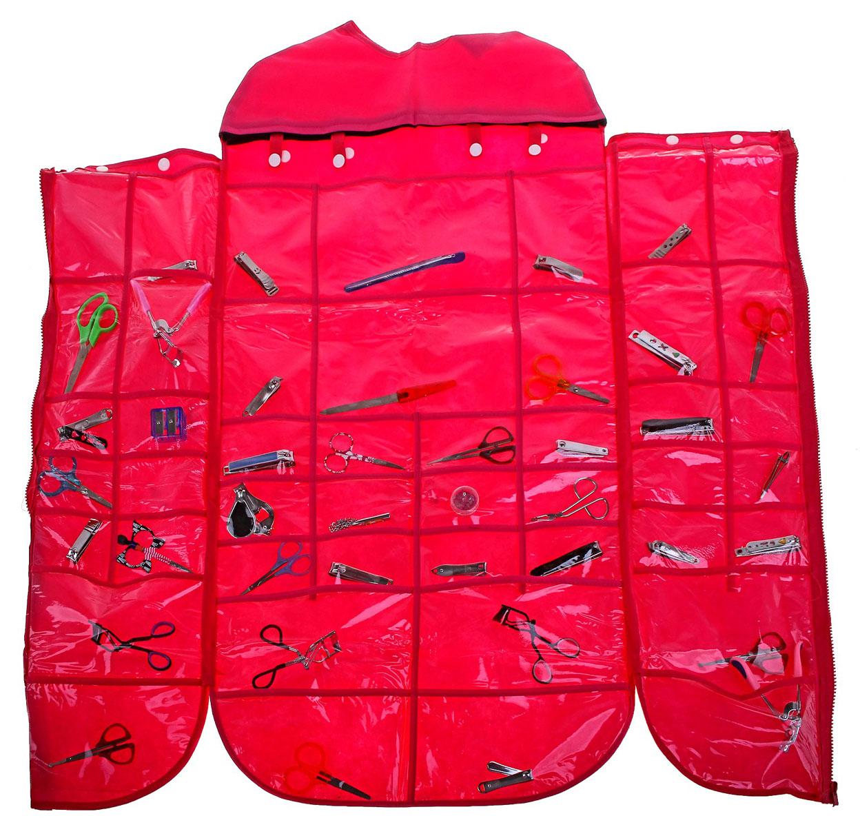 Органайзер для хранения вещей Sima-land, цвет: розовый, 46 отделений710523Органайзер Sima-land, изготовленный из ПВХ и текстиля, предназначен для хранения необходимых вещей, множества мелочей в гардеробной, ванной, детской комнатах. Изделие оснащено застежкой-молнией и 46 прозрачными карманами разного размера и формы, пришитыми к текстильному полотну. Органайзер можно повесить в любом удобном для вас месте с помощью вешалки. Этот нужный предмет может стать одновременно и декоративным элементом комнаты. Яркий дизайн, как ничто иное, способен оживить интерьер вашего дома.Размер самого большого отделения: 22 см х 13,5 см.Размер самого маленького отделения: 8,5 см х 6,5 см.