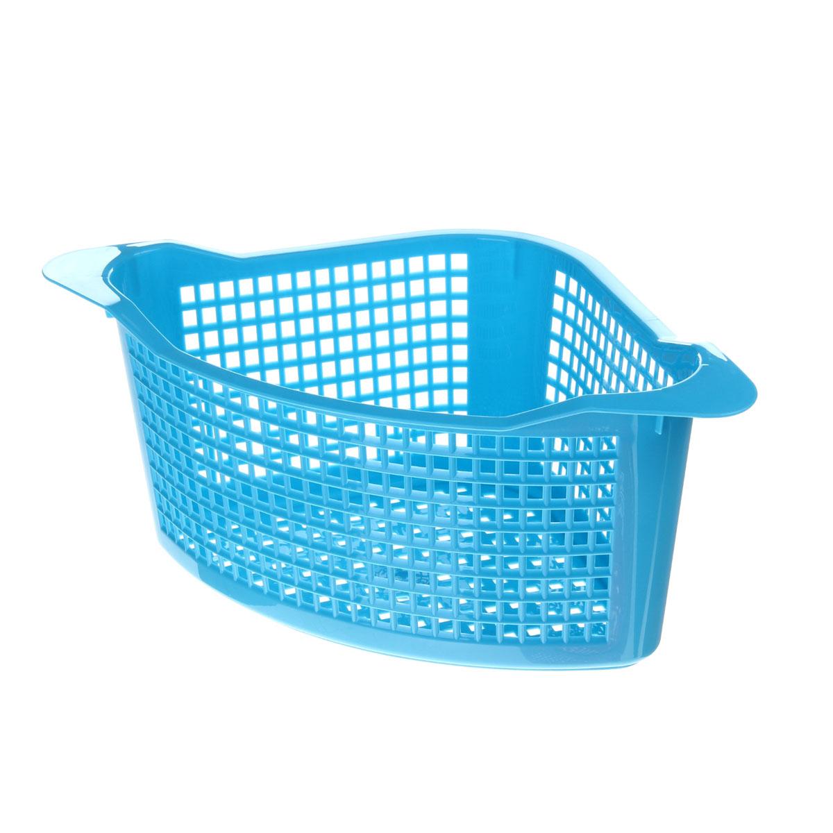 Корзинка универсальная Econova, угловая, цвет: голубой, 29 х 18 х 12 см718343Универсальная угловая корзинка Econova изготовлена из высококачественного пластика с перфорированными стенками и дном. Такая корзинка непременно пригодится в быту, в ней можно хранить кухонные принадлежности, специи, аксессуары для ванной, канцелярию и другие бытовые предметы.