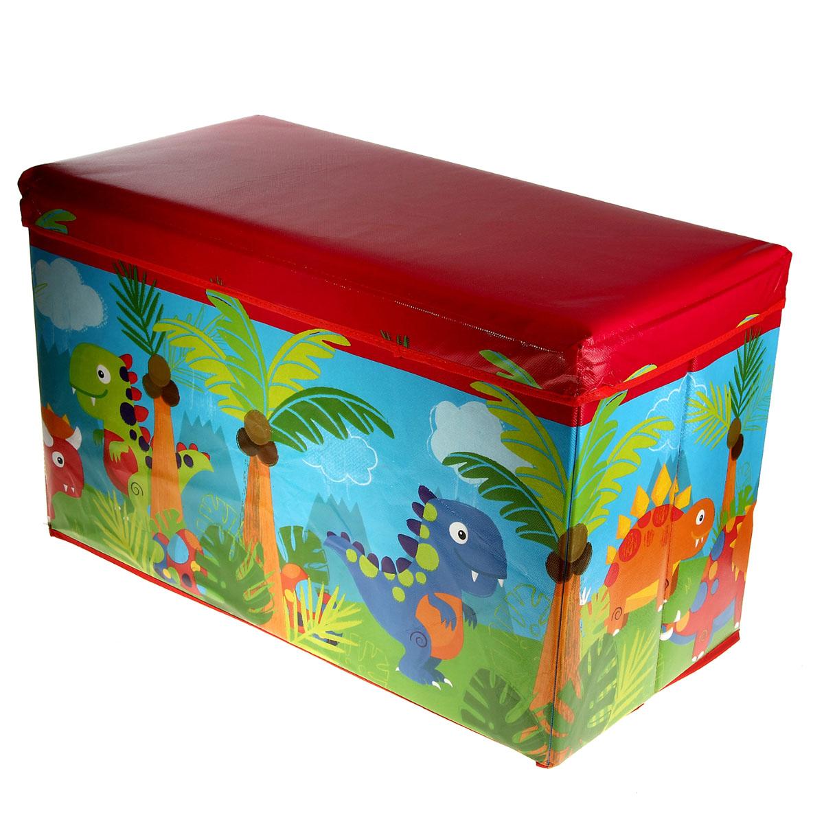 Коробка для хранения Sima-land Динозаврики, 35 см х 59 см х 31 смMB8040Коробка для хранения Sima-land Динозаврики изготовлена из искусственной кожи и картона. Коробка имеет съемную, мягкую крышку. Материал коробки позволяет сохранять естественную вентиляцию, а воздуху свободно проникать внутрь, не пропуская пыль. Благодаря специальным вставкам, коробка прекрасно держит форму, что позволяет ее использовать как дополнительное посадочное место для ребенка. Красочный дизайн коробки понравиться вашему ребенку. Компактные габариты коробки не загромождают помещение. Коробку можно хранить в обычном шкафу. Внутренняя емкость позволяет хранить внутри игрушки, книжки и другие вещи. Мобильность коробки обеспечивает складывание и раскладывание ее одним движением.Коробка Sima-land Динозаврики - идеальное решения для хранения вещей. Размер коробки: 35 см х 59 см х 31 см.
