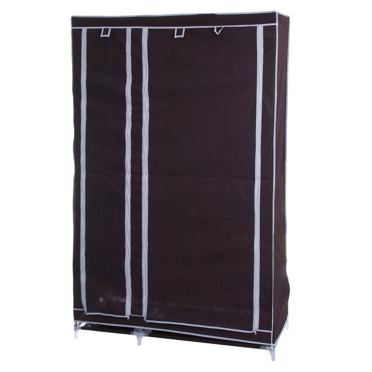 Мобильный шкаф для одежды Sima-land, цвет: кофейный, 110 х 45 х 175 см 852965CM000001326Мобильный шкаф для одежды Sima-land, предназначенный для хранения одежды и других вещей, это отличное решение проблемы, когда наблюдается явный дефицит места или есть временная необходимость. Складной тканевый шкаф - это мобильная конструкция, состоящая из сборного металлического каркаса, на который натянут чехол из нетканого полотна. Корпус шкафа сделан из легкой, но прочной стали, а обивка из полиэстера, который можно легко стирать в стиральной машинке. Шкаф оснащен двумя отделами с текстильными дверями, которые закрываются на застежки-молнии. Чтобы открыть шкаф вы можете скрутить двери и зафиксировать их наверху с помощью ремешков на липучках. В одном отделе присутствует перекладина для хранения вещей на вешалках, во втором отделе - 4 вместительные полки.