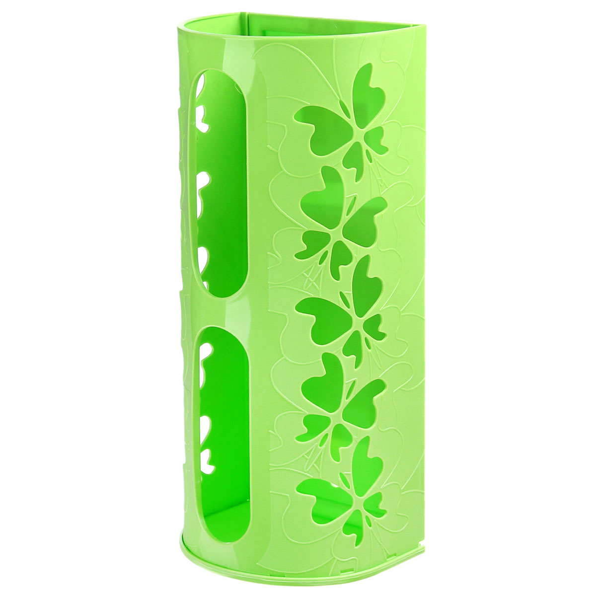 Корзина для пакетов Berossi Fly, цвет: салатовыйTD 0033Корзина для пакетов Berossi Fly, изготовлена из высококачественного пластика. Эта практичная корзина наведет порядок в кладовке или кухонном шкафу и позволит хранить пластиковые пакеты или хозяйственные сумочки во всегда доступном месте! Изделие декорировано резным изображением бабочек. Корзина просто подвешивается на дверь шкафчика изнутри или снаружи, в зависимости от назначения. Корзина для пакетов Berossi Fly будет замечательным подарком для поддержания чистоты и порядка. Она сэкономит место, гармонично впишется в интерьер и будет радовать вас уникальным дизайном.