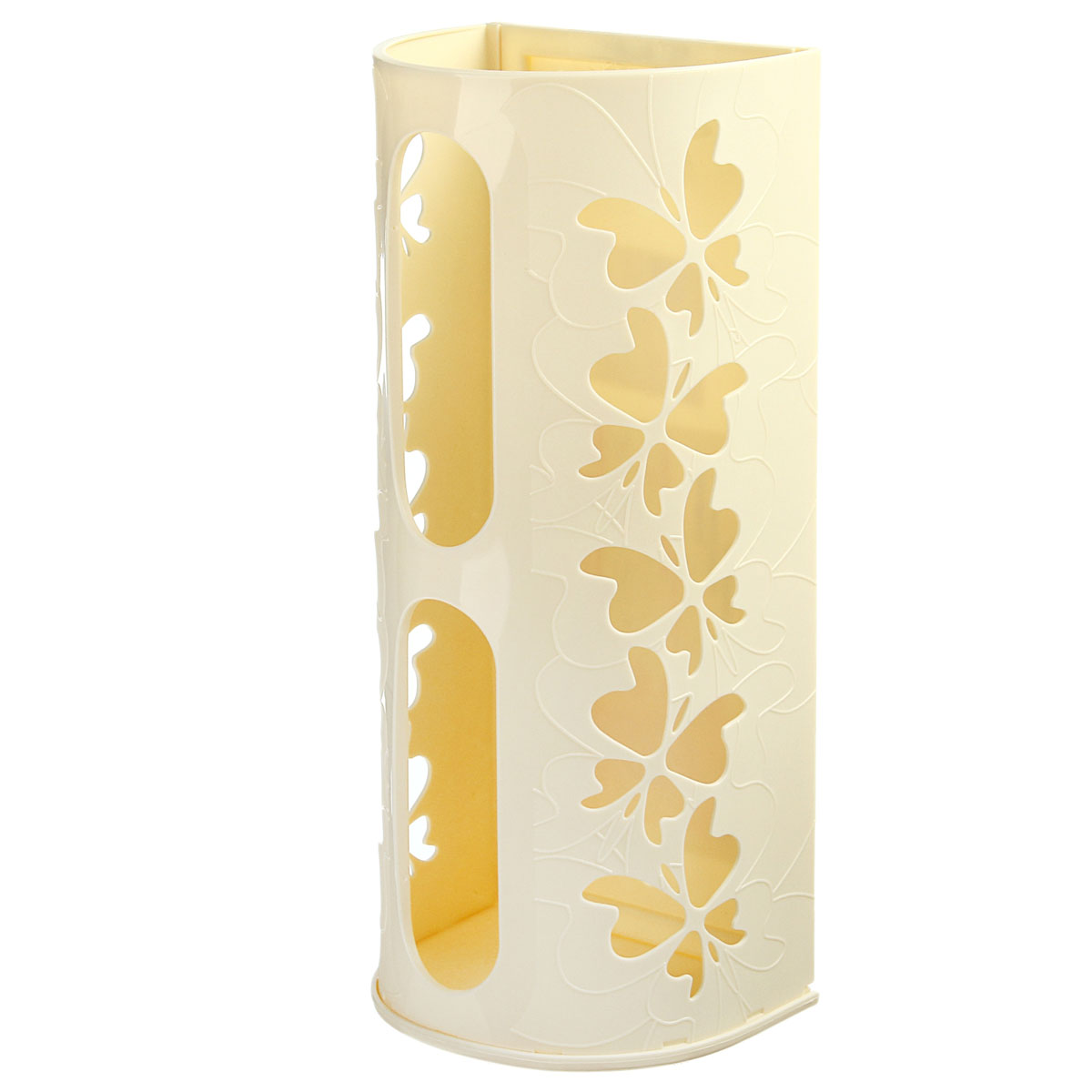 Корзина для пакетов Berossi Fly, цвет: слоновая кость98299571Корзина для пакетов Berossi Fly, изготовлена из высококачественного пластика. Эта практичная корзина наведет порядок в кладовке или кухонном шкафу и позволит хранить пластиковые пакеты или хозяйственные сумочки во всегда доступном месте! Изделие декорировано резным изображением бабочек. Корзина просто подвешивается на дверь шкафчика изнутри или снаружи, в зависимости от назначения. Корзина для пакетов Berossi Fly будет замечательным подарком для поддержания чистоты и порядка. Она сэкономит место, гармонично впишется в интерьер и будет радовать вас уникальным дизайном.